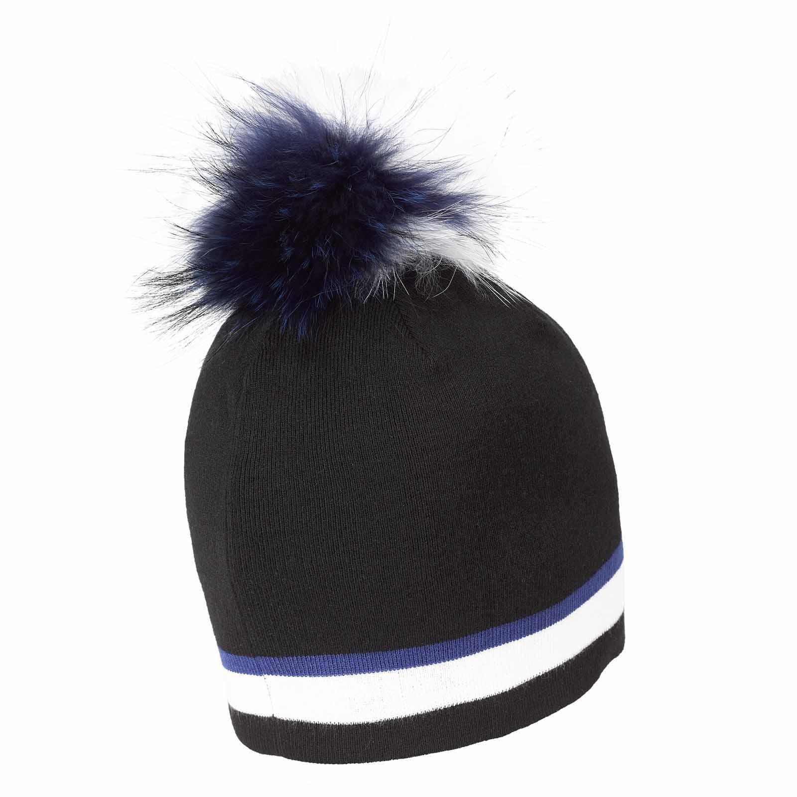 Damen Strickmütze Cold Protection mit Echtfell Pompom und Merinowolle