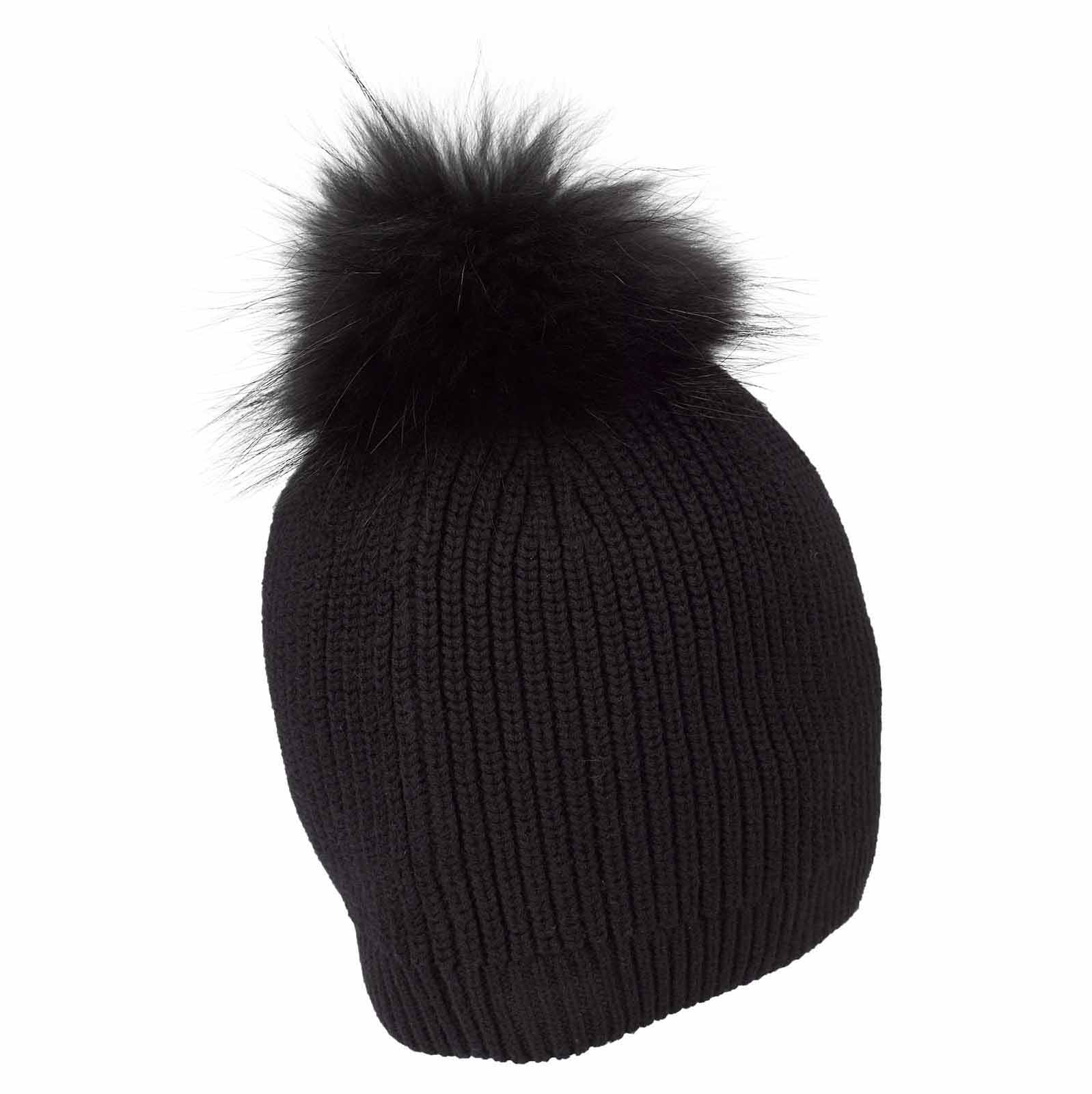 Damen Strickmütze Cold Protection mit Echtfell Pompom