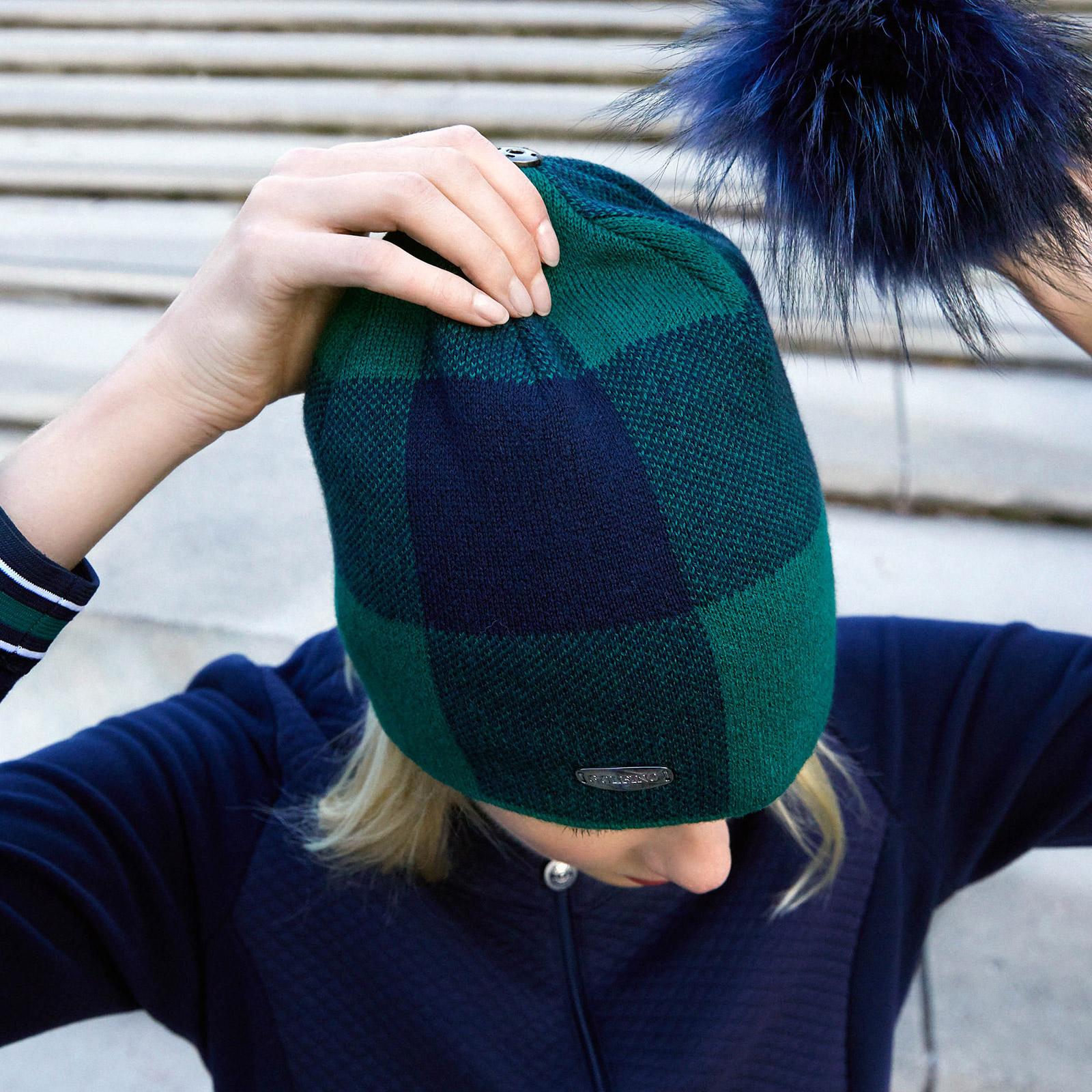 Damen Strickmütze Cold Protection mit Echtfell Pompom und Kaschmiranteil