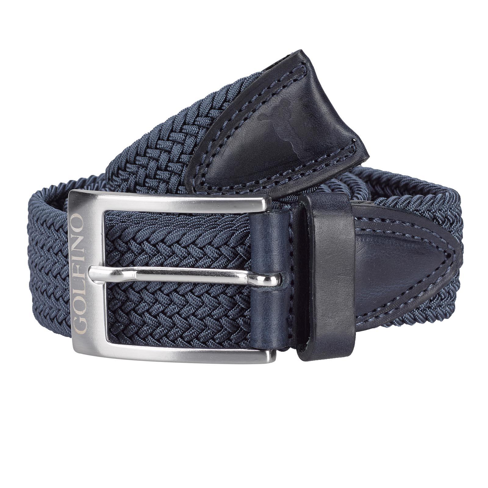 Herren Golf Stretchgürtel mit hochwertigem Besatz aus echtem Leder