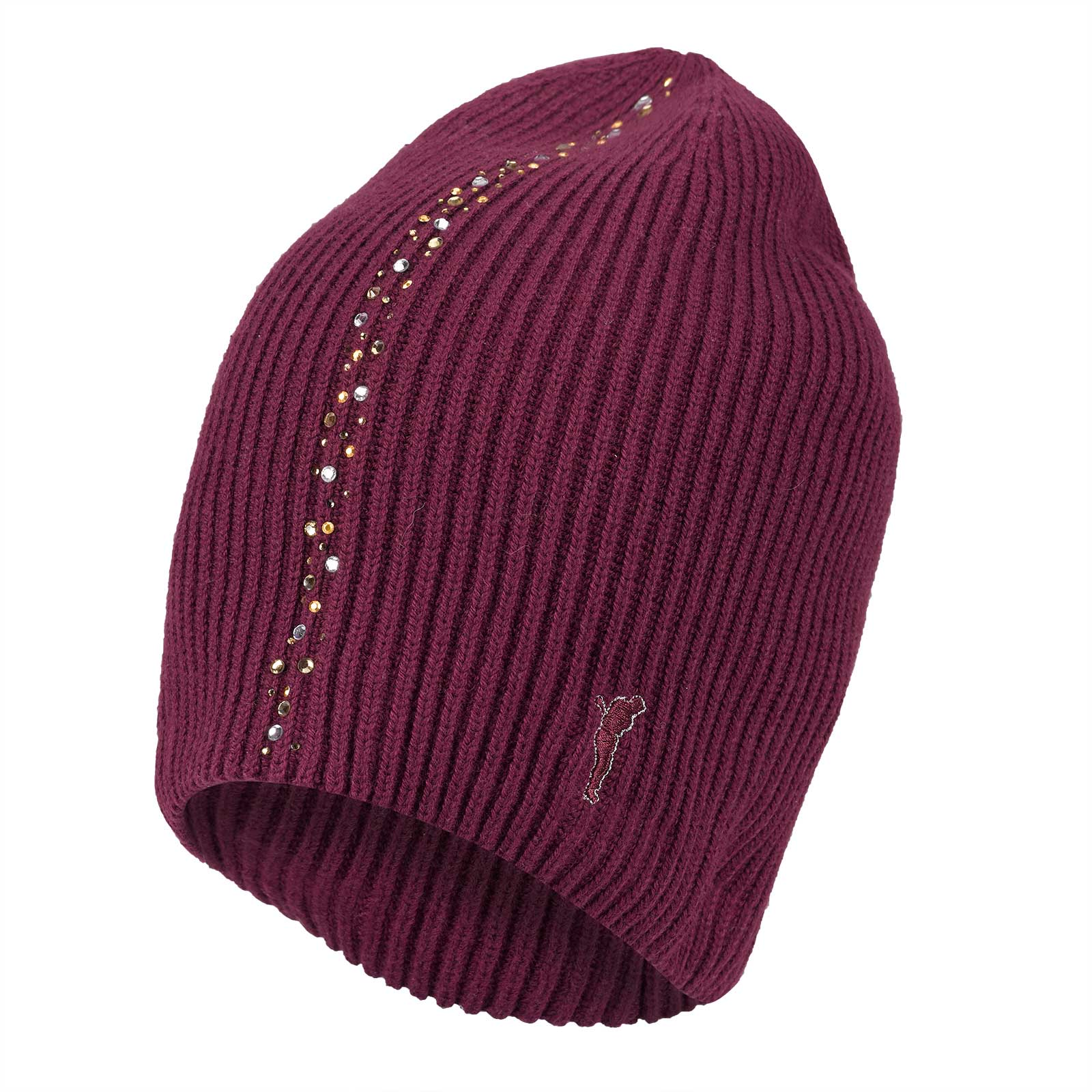 Ladies' soft cashmere blend knitted hat with rhinestones