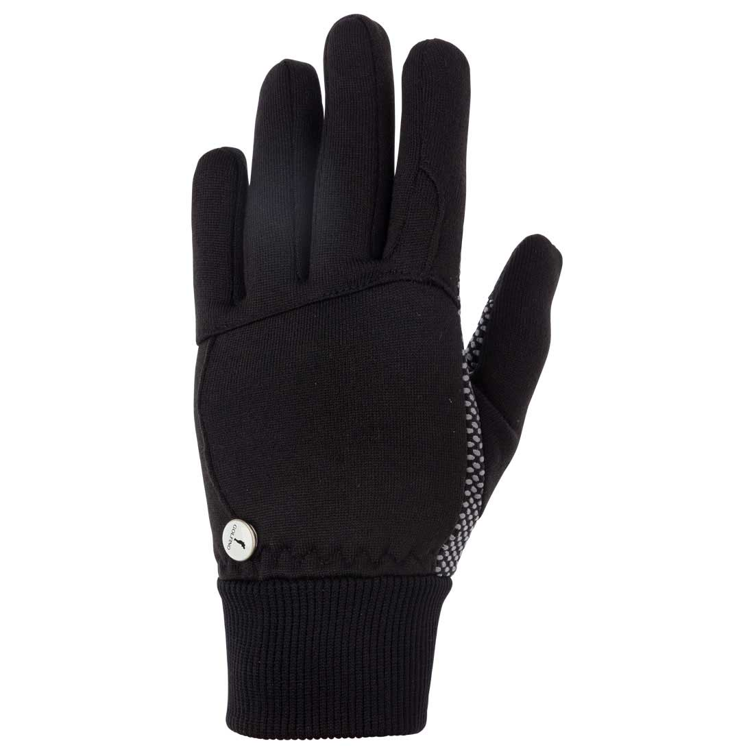 Ladies' winter gloves with ribbed cuffs and ball marker