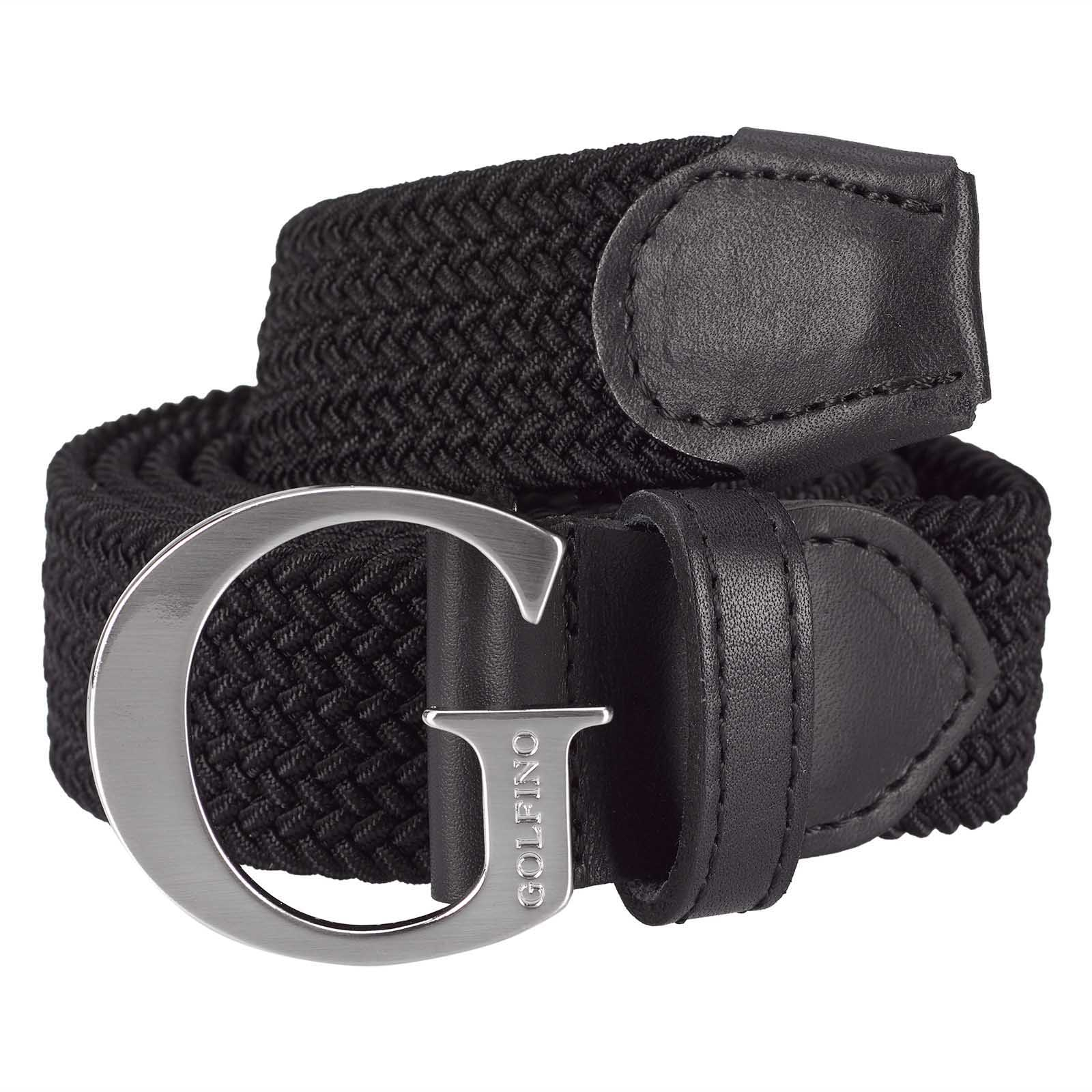 Ladies' leather golf belt with G-buckle and elastic element