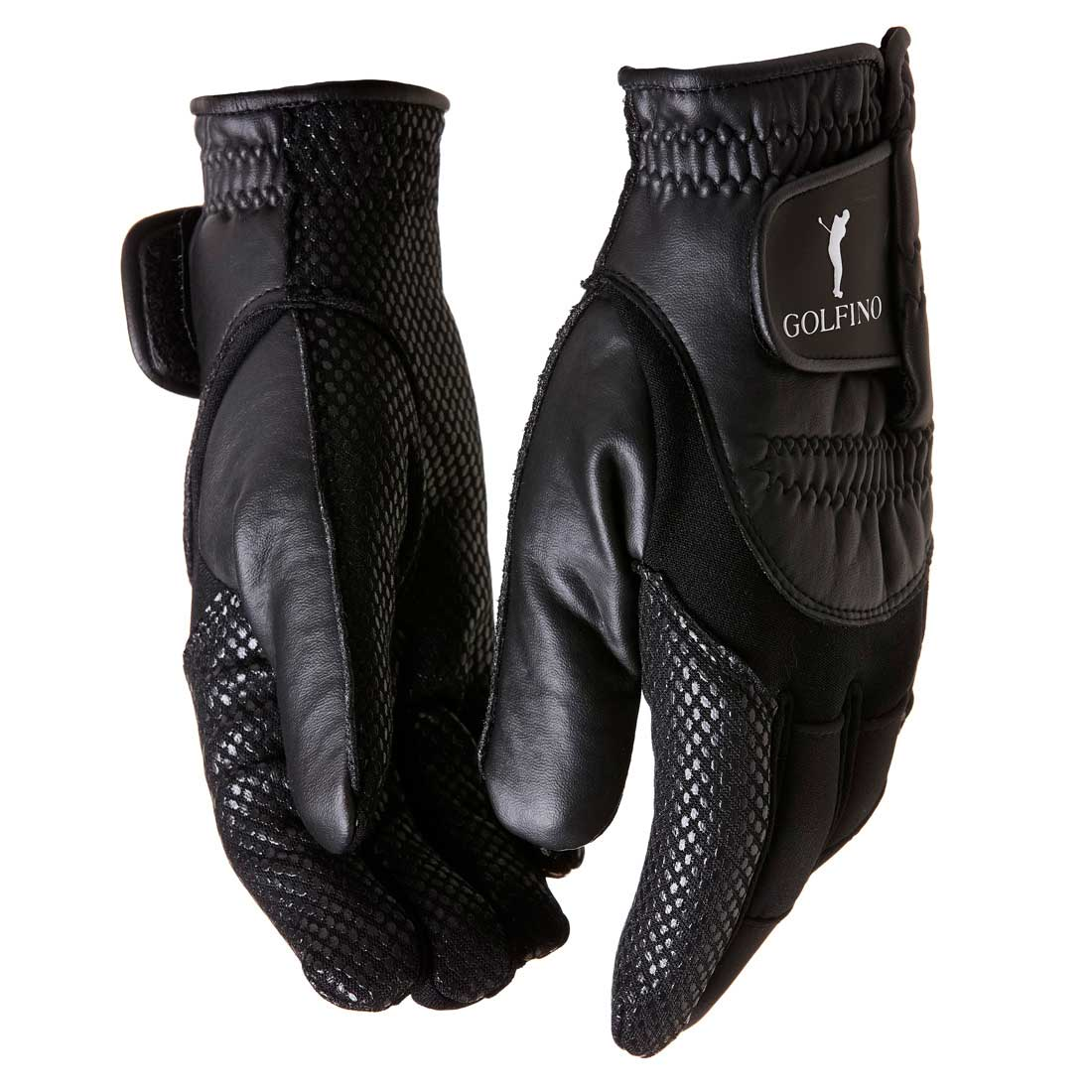 Men's winter golf gloves in leather look with velcro fastener