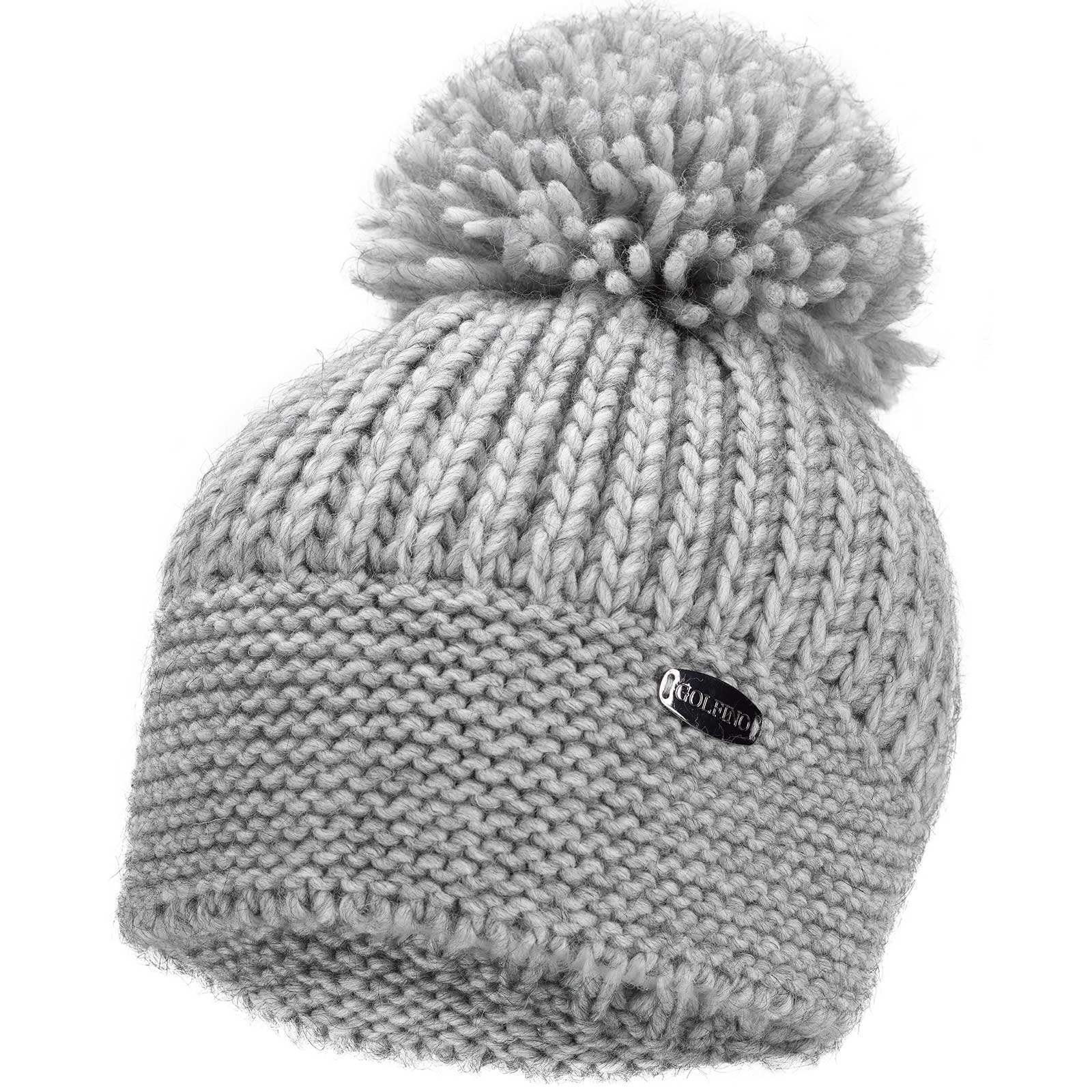 Ladies' knitted functional hat with pompom