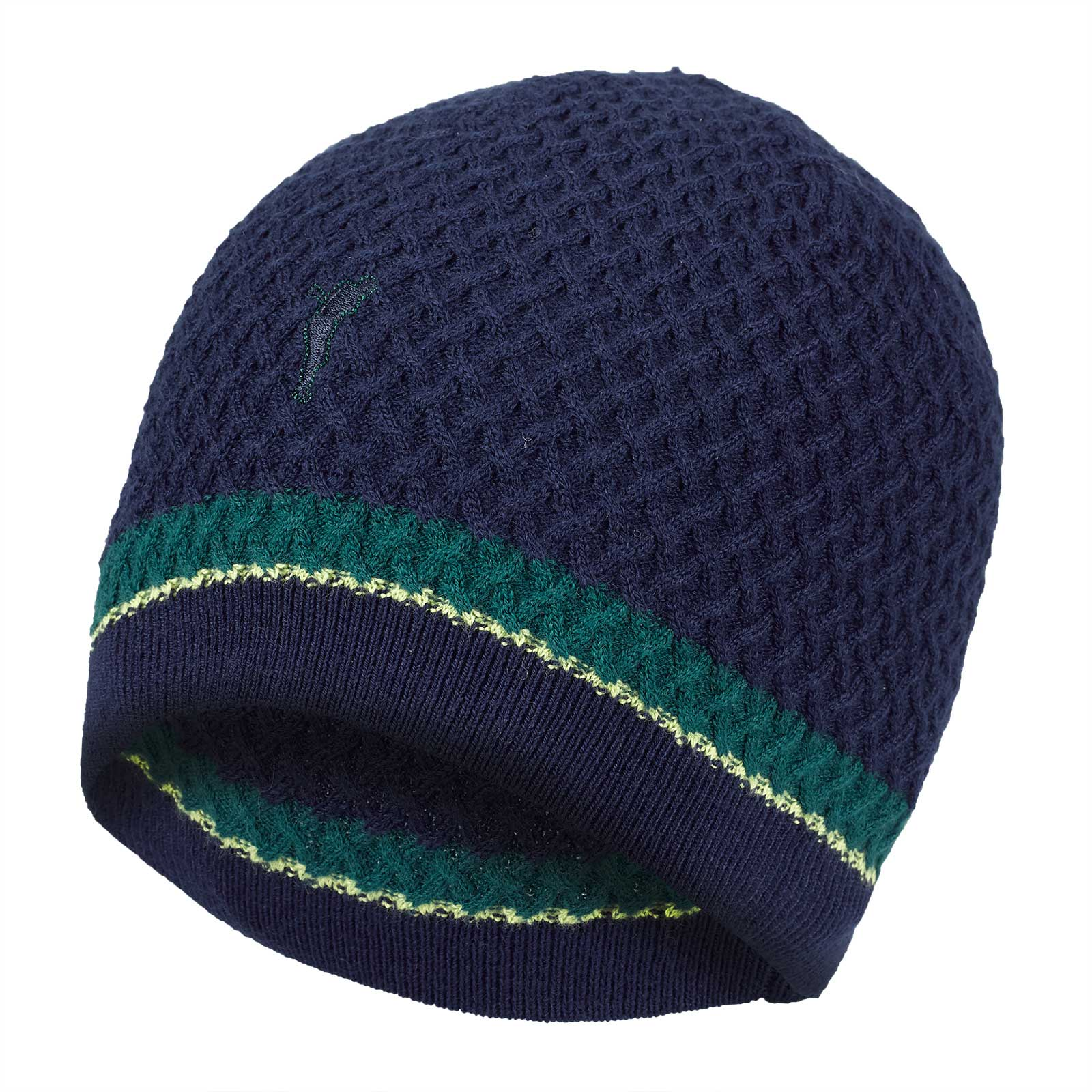 Herren Golf-Strickmütze mit Streifenmuster aus geschmeidigem Merino-Mix