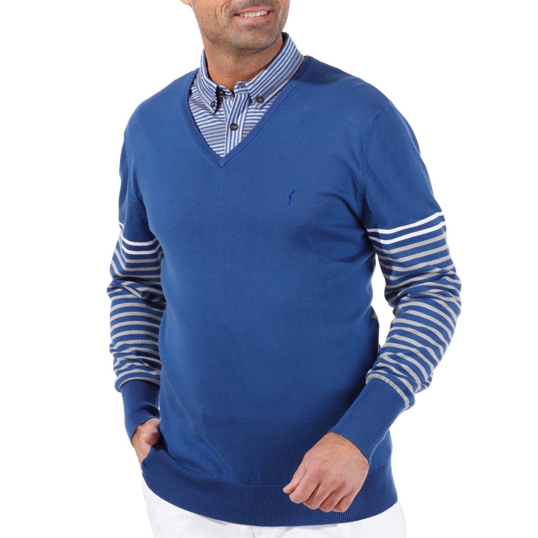 Pima-Baumwoll-Pullover mit V-Ausschnitt
