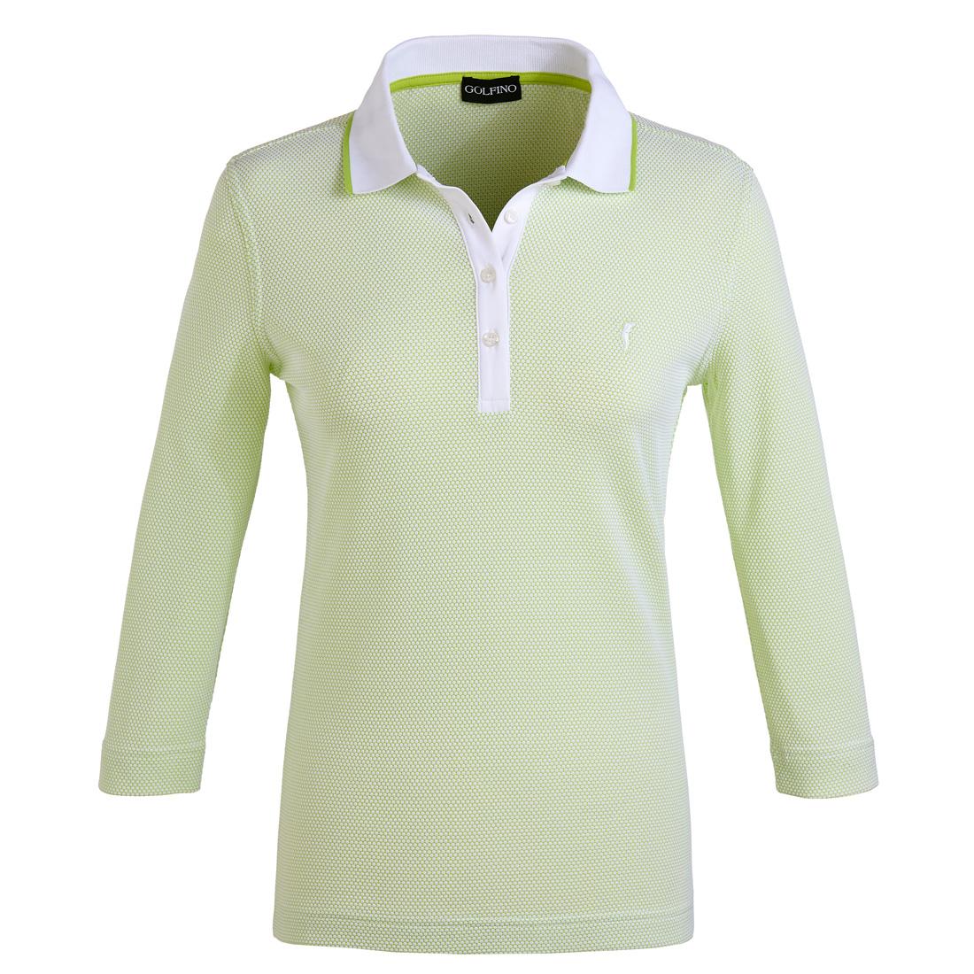 Bubble Jacquard Poloshirt mit 3/4-Arm