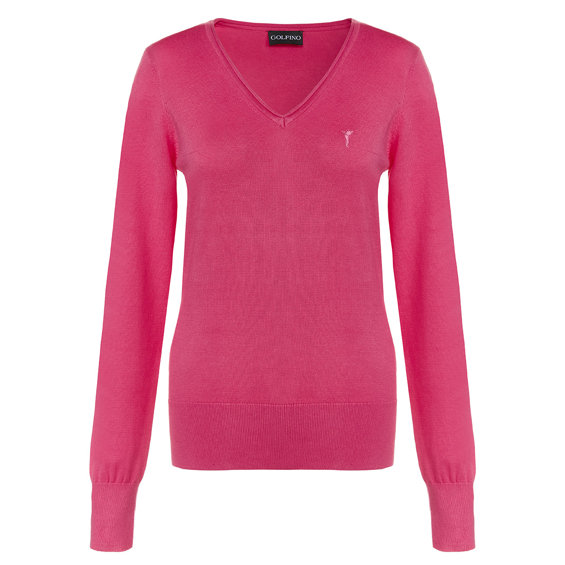 Ladies' golf pullover made from extra-soft cotton with V-neck