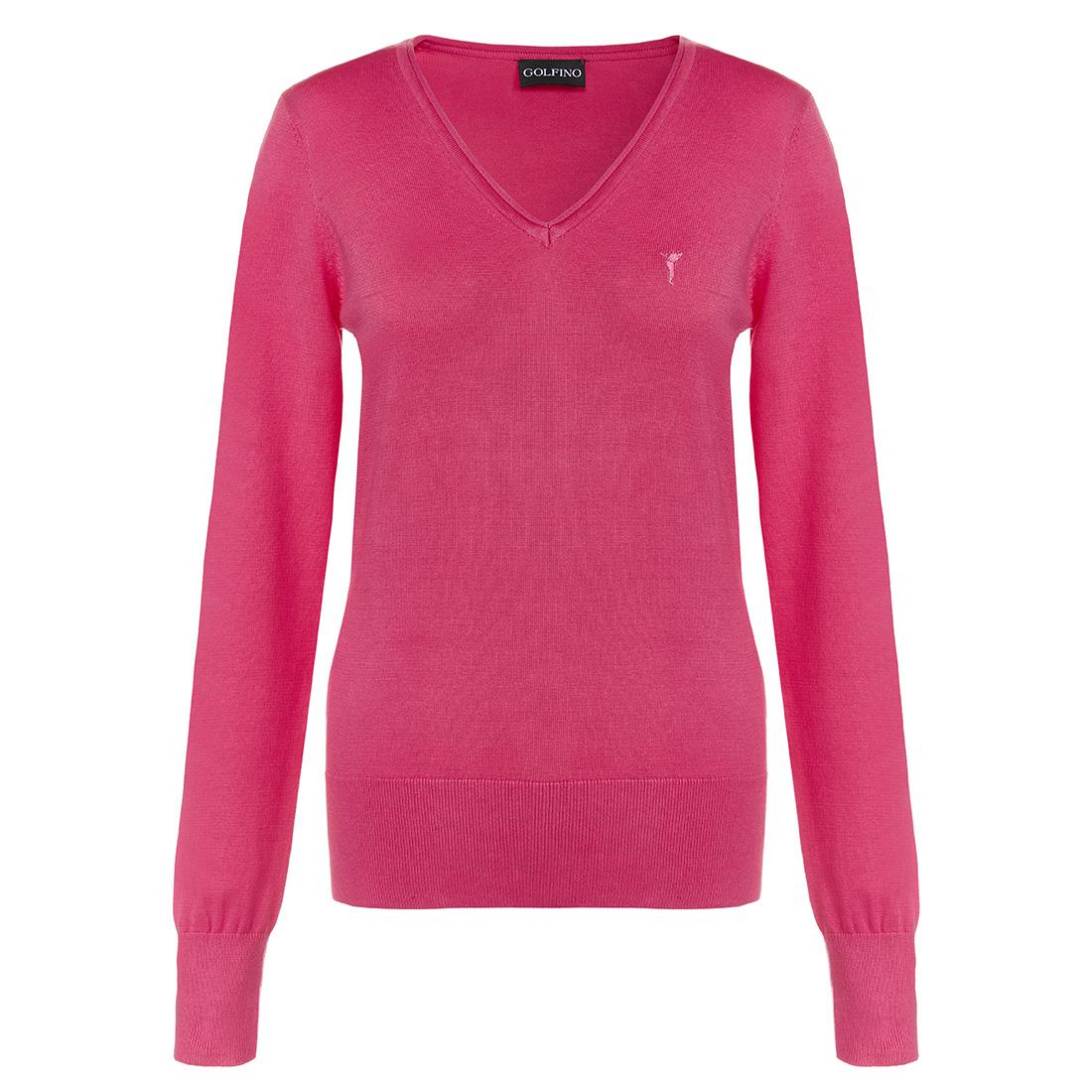 Damen Golfpullover aus extra weicher Baumwolle mit V-Ausschnitt