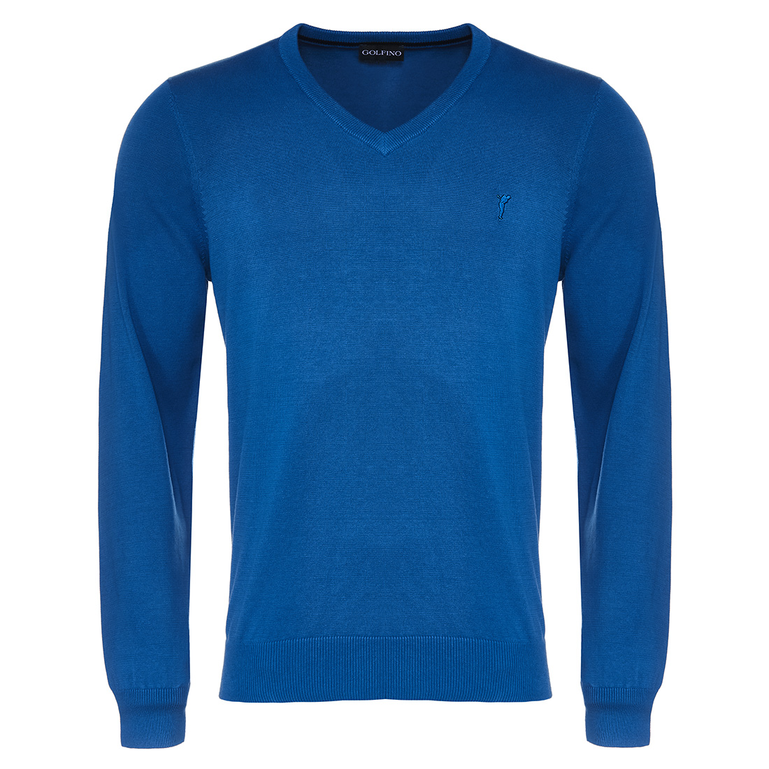 Men's knitted pullover with V-neckline made from soft cotton
