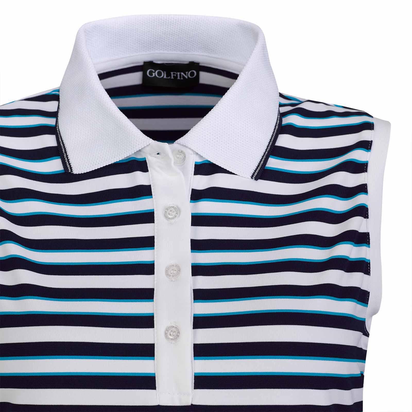 Ärmelloses Damen Streifen Poloshirt feuchtigkeitsregulierend mit Stretch Komfort
