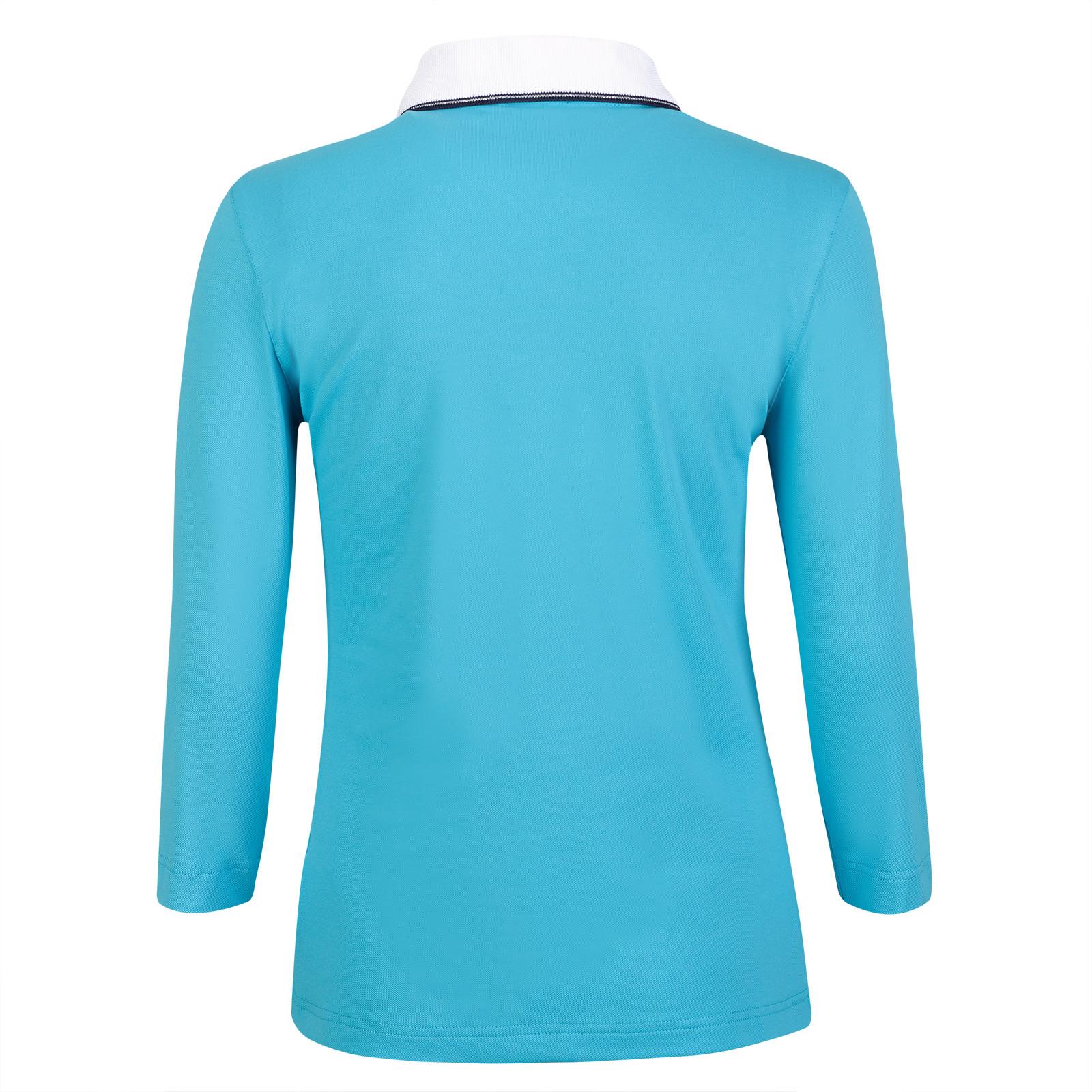 Damen 3/4-Arm Polo Shirt mit Sonnenschutz-Funktion in Slim Fit