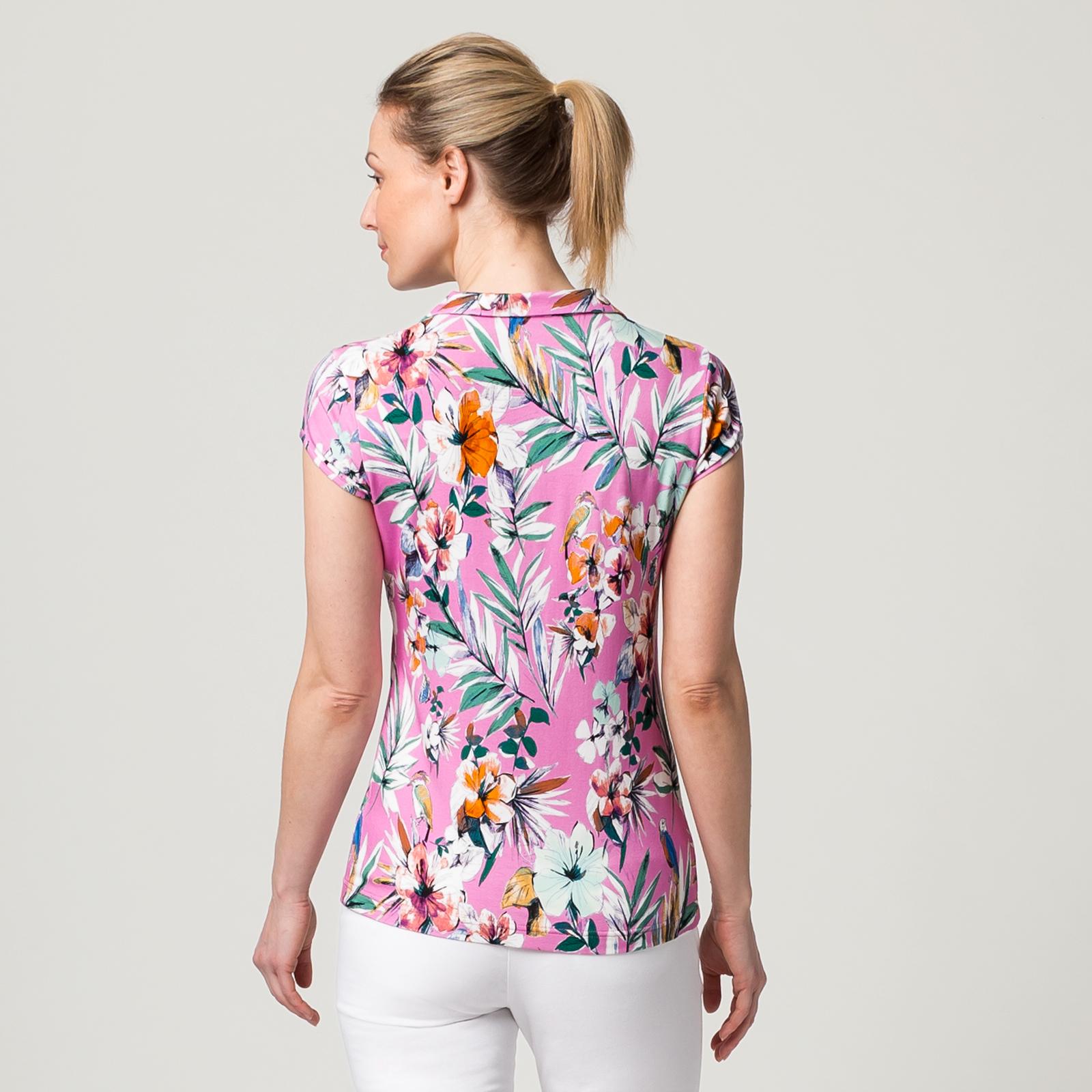 Damen Polo Shirt mit Extra Stretch Komfort und Motiv-Druck aus Viskose-Mix