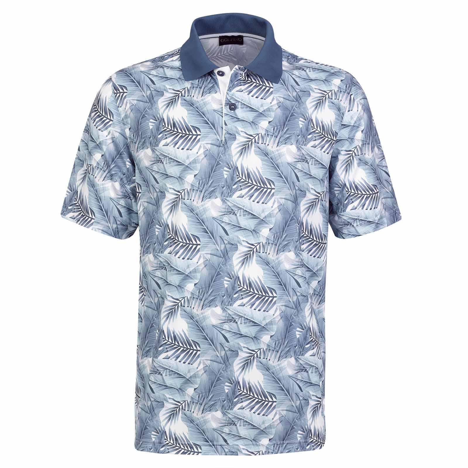 Herren Kurzarm Golfpolo mit Sonnenschutz und Motivdruck in Regular Fit