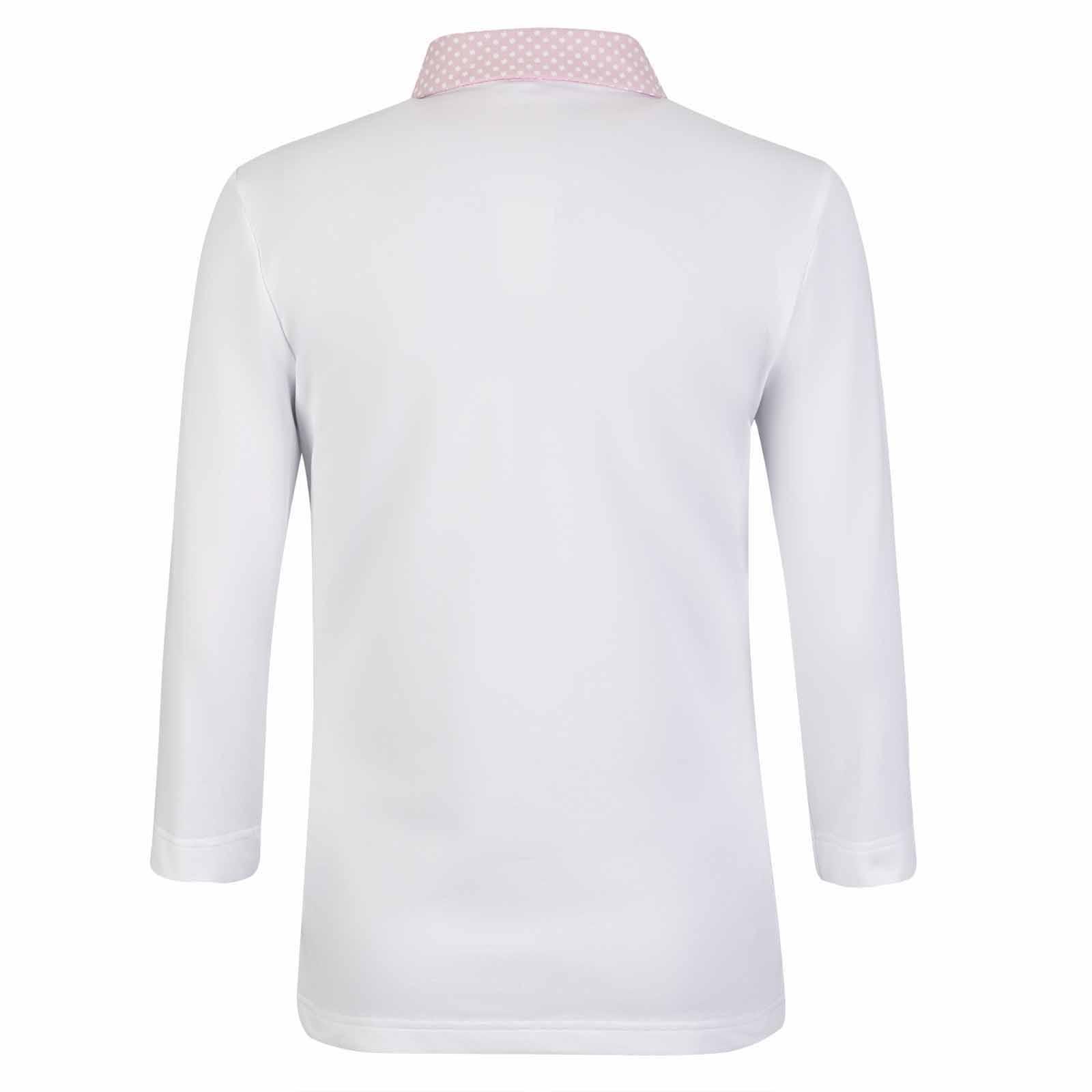 Damen 3/4-Arm Poloshirt mit Sonnenschutz und modischem Muster in Slim Fit