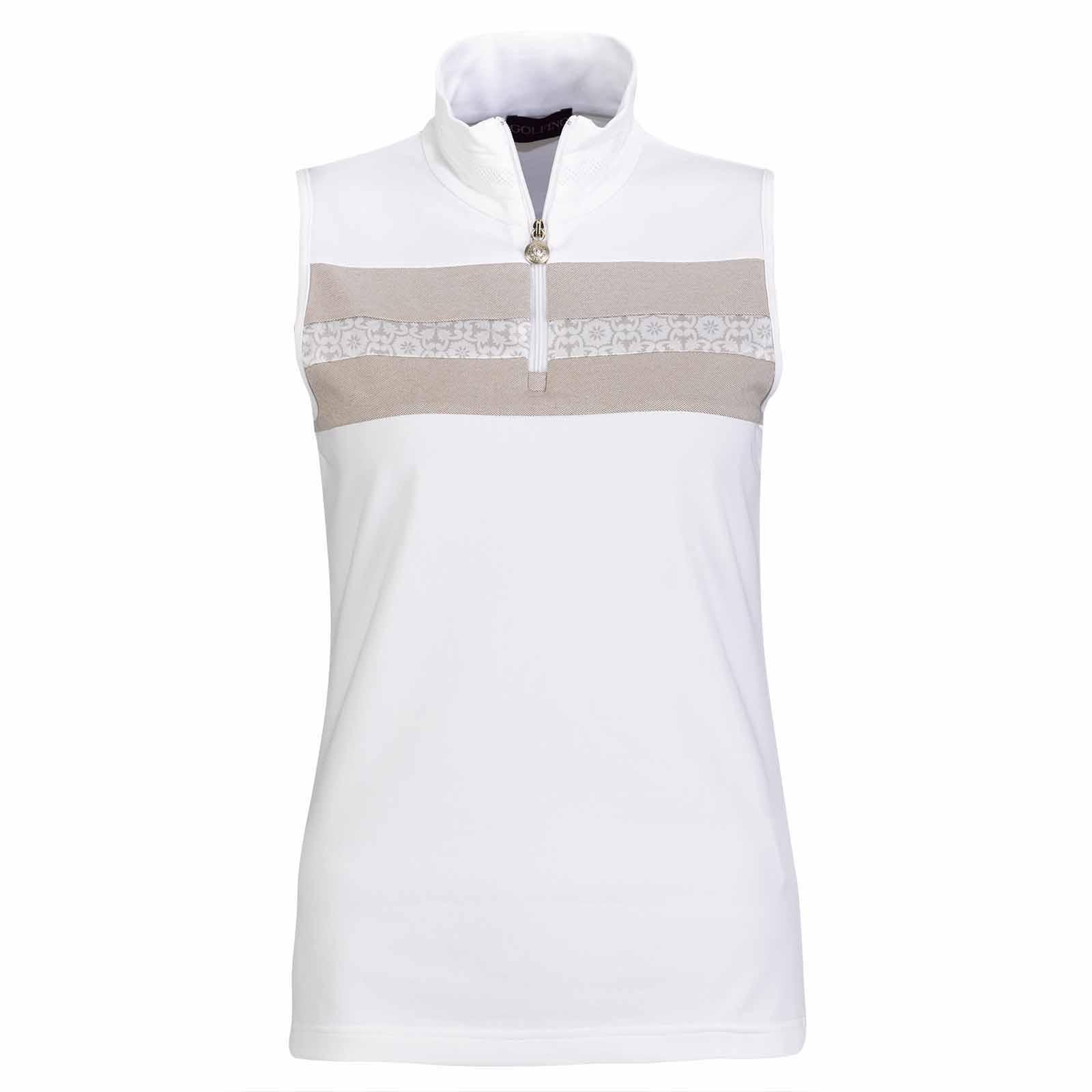 Ärmelloses Damen Funktions-Golfpolo mit Sonnenschutz und modischem Muster