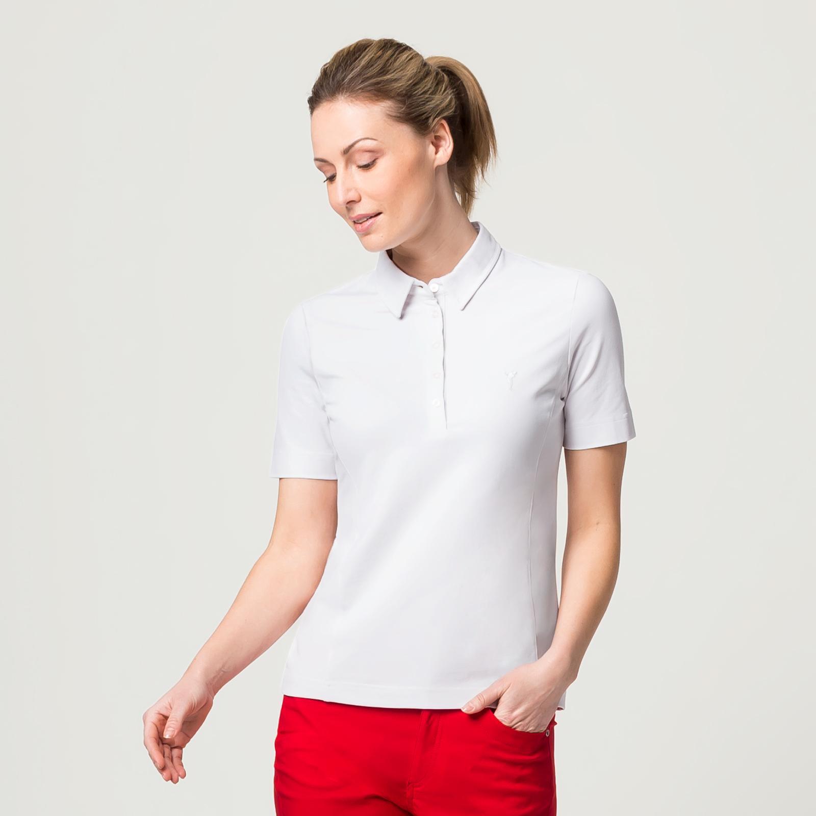 Damen Kurzarm Polo mit Sonnenschutz und Stretchfunktion aus Baumwoll-Mix