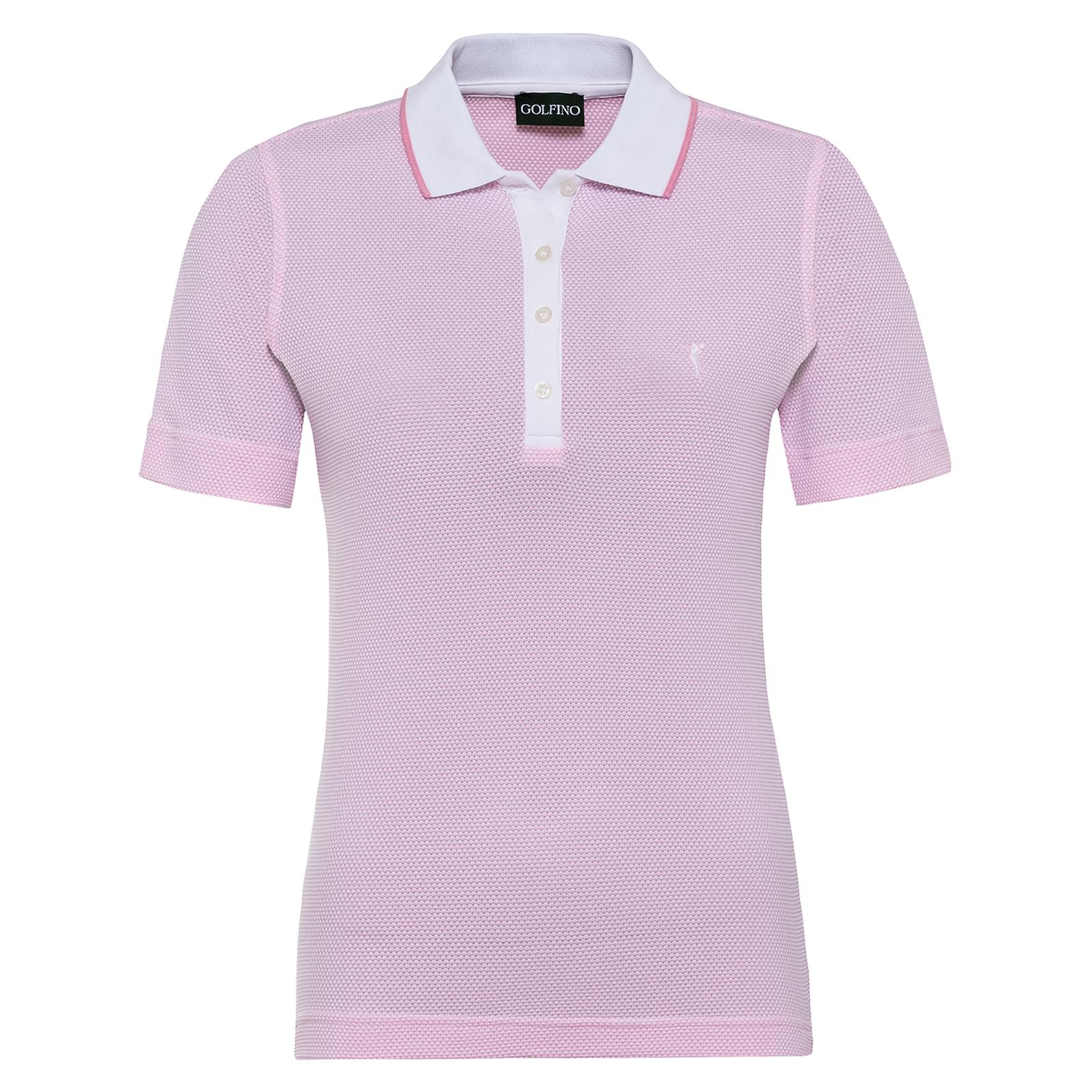 Damen Golfpolo mit Kurzarm aus feuchtigkeitsregulierendem Bubble Jacquard Stoff