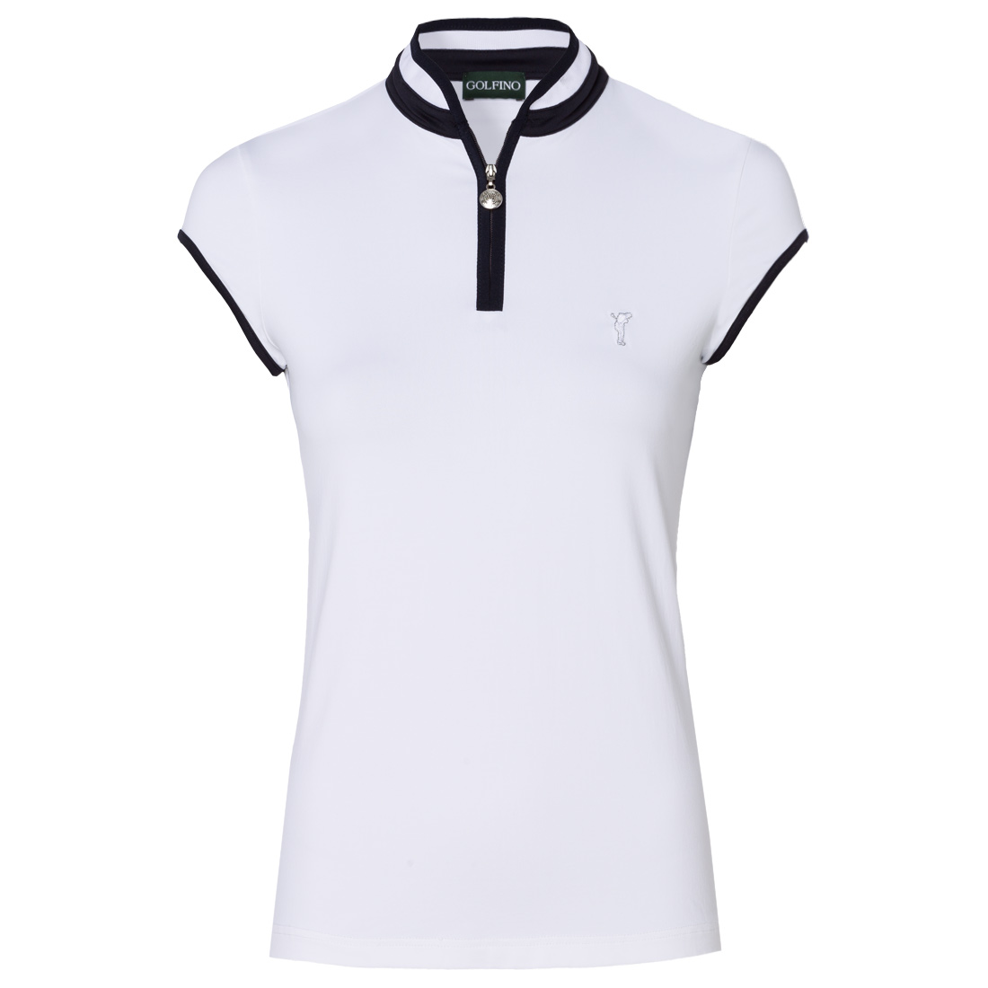 Ladies' polo shirt with troyer-style collar and cap sleeves made from sun protection fabric