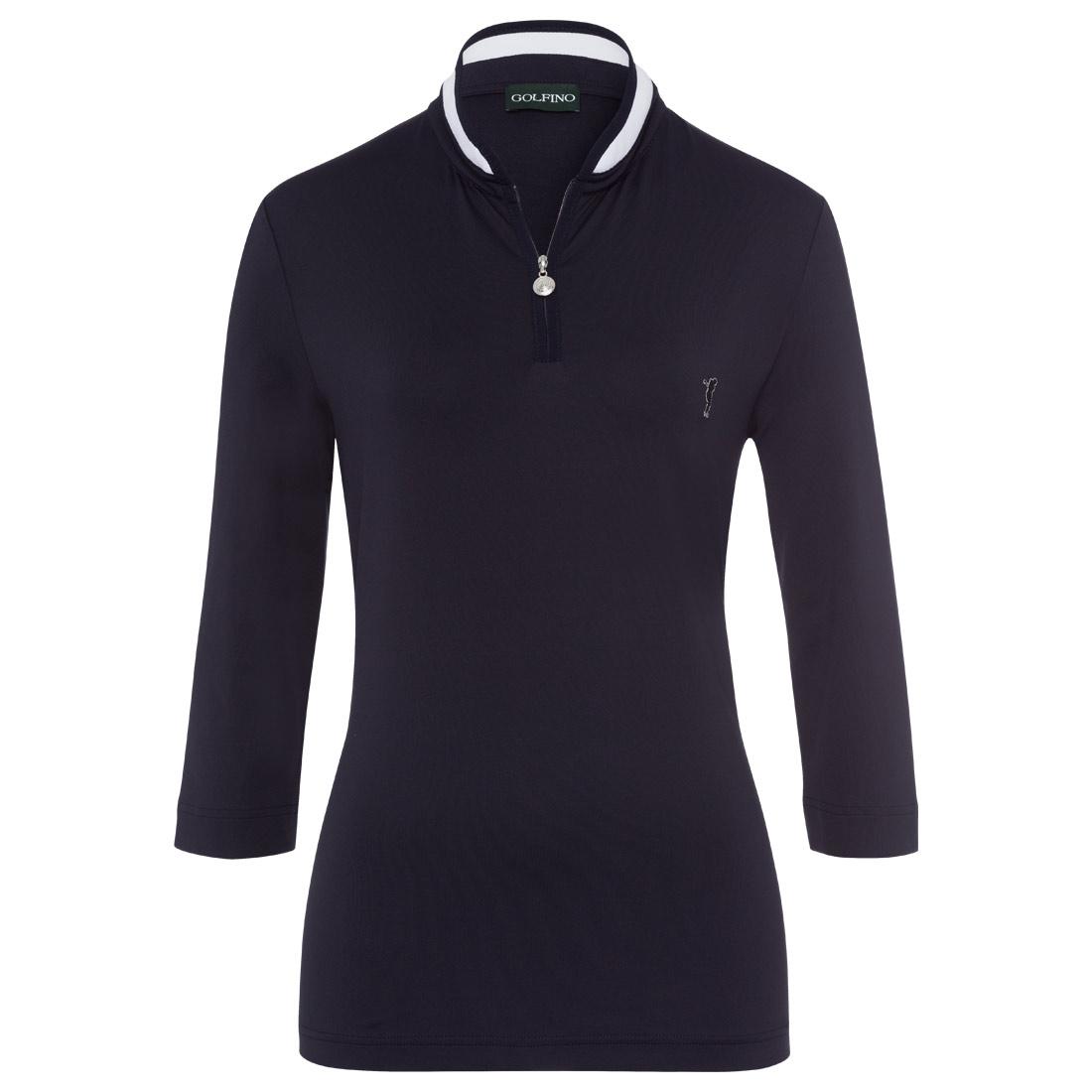 Damen Polo mit Troyer-Kragen und 3/4-Ärmeln aus feuchtigkeitsregulierendem Stoff