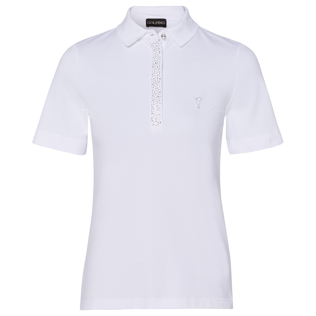Ladies' polo with gemstones and sun protection function