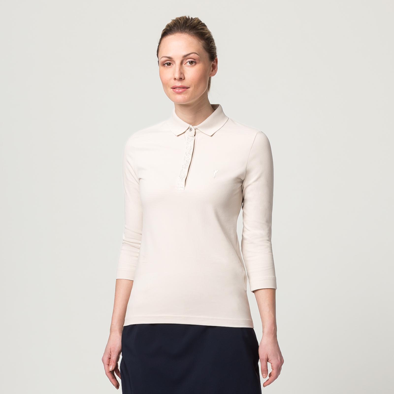 Damen Polo mit Schmucksteinen, 3/4-Arm und Sonnenschutz-Funktion