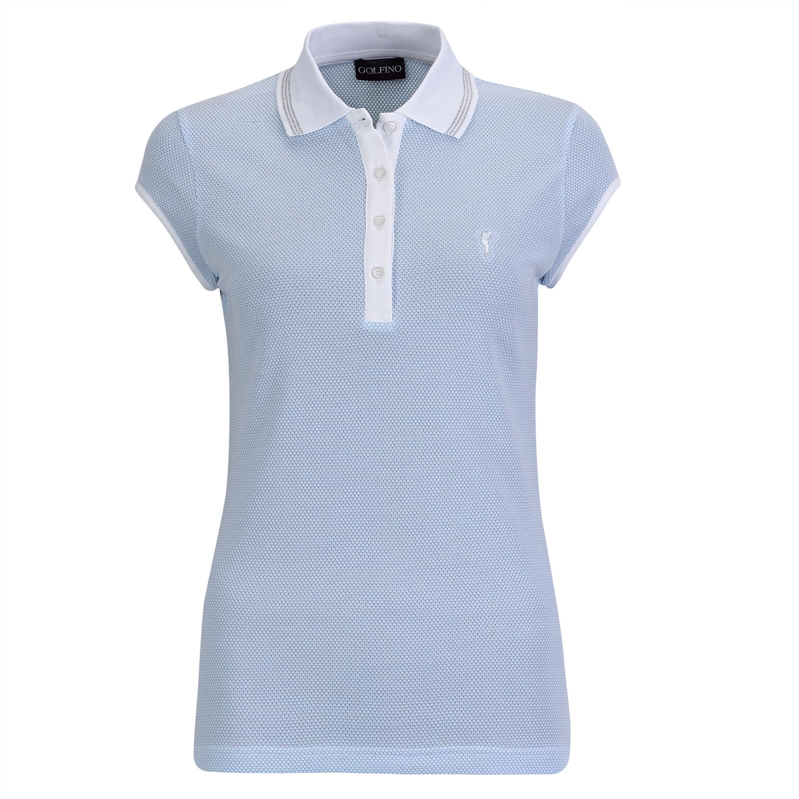Damen Golfpolo mit Flügelärmeln aus hochwertigem Bubble Jacquard Stoff
