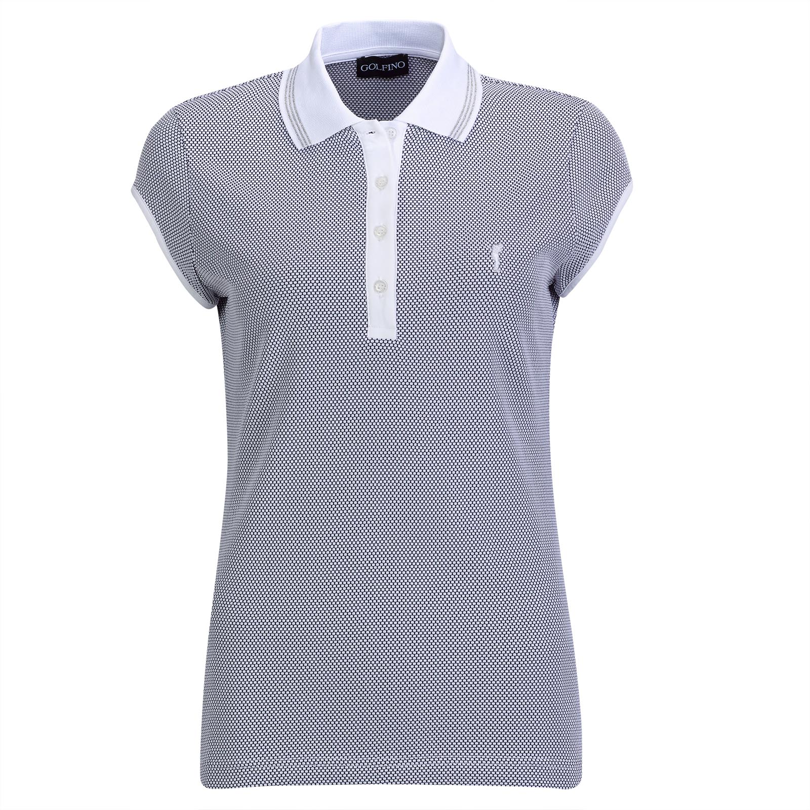 Ladies' golf polo shirt with cap sleeves, made from high quality bubble Jacquard fabric