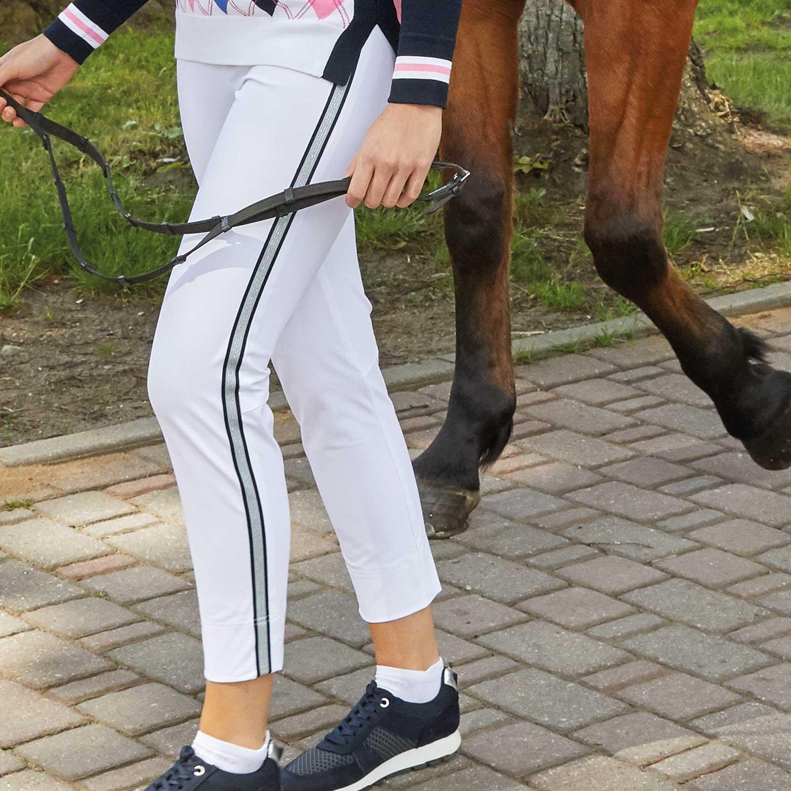Damen Caprihose mit Extra Stretch Komfort und Galonstreifen in Slim Fit