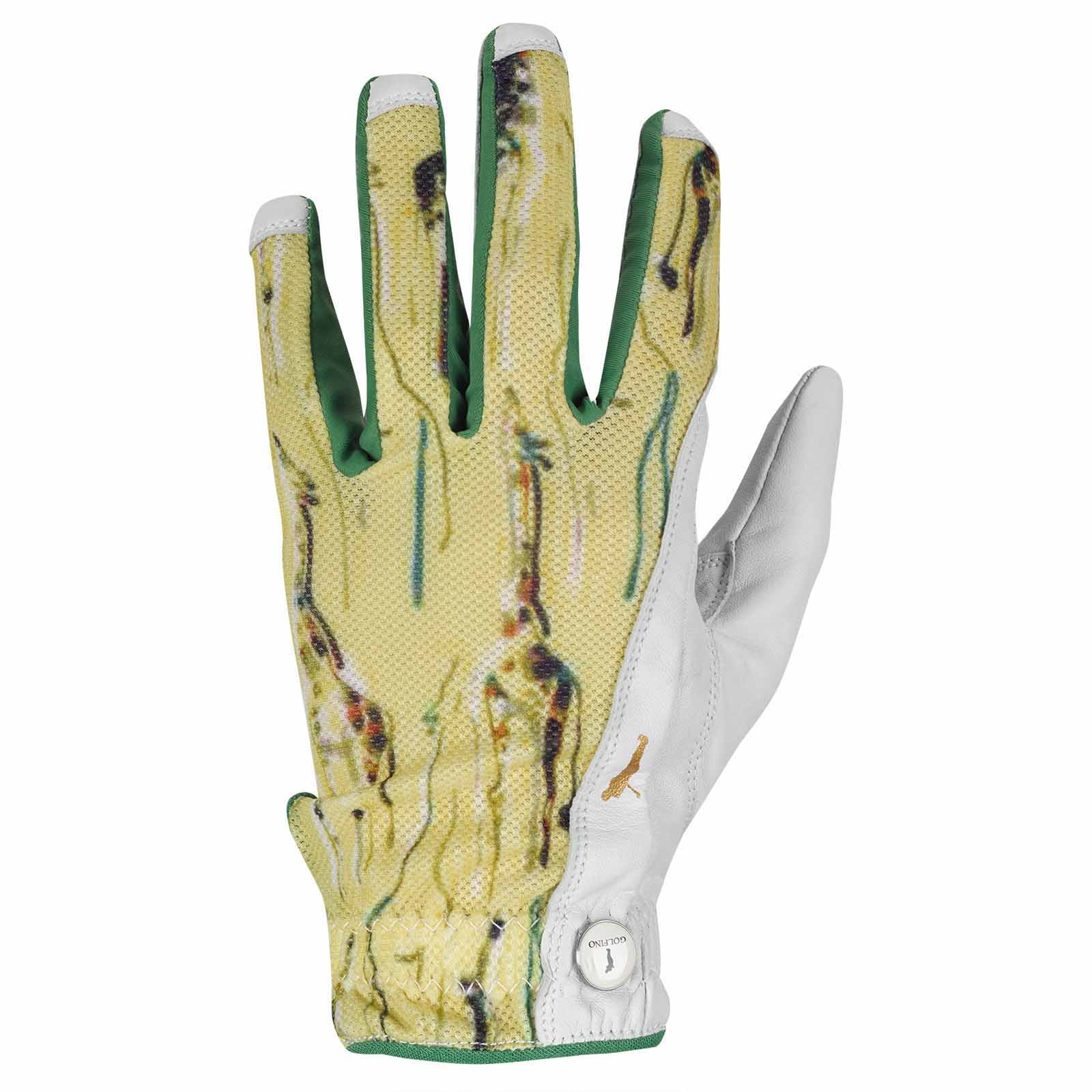 Ladies' golf glove (left hand) made from leather with textile insert