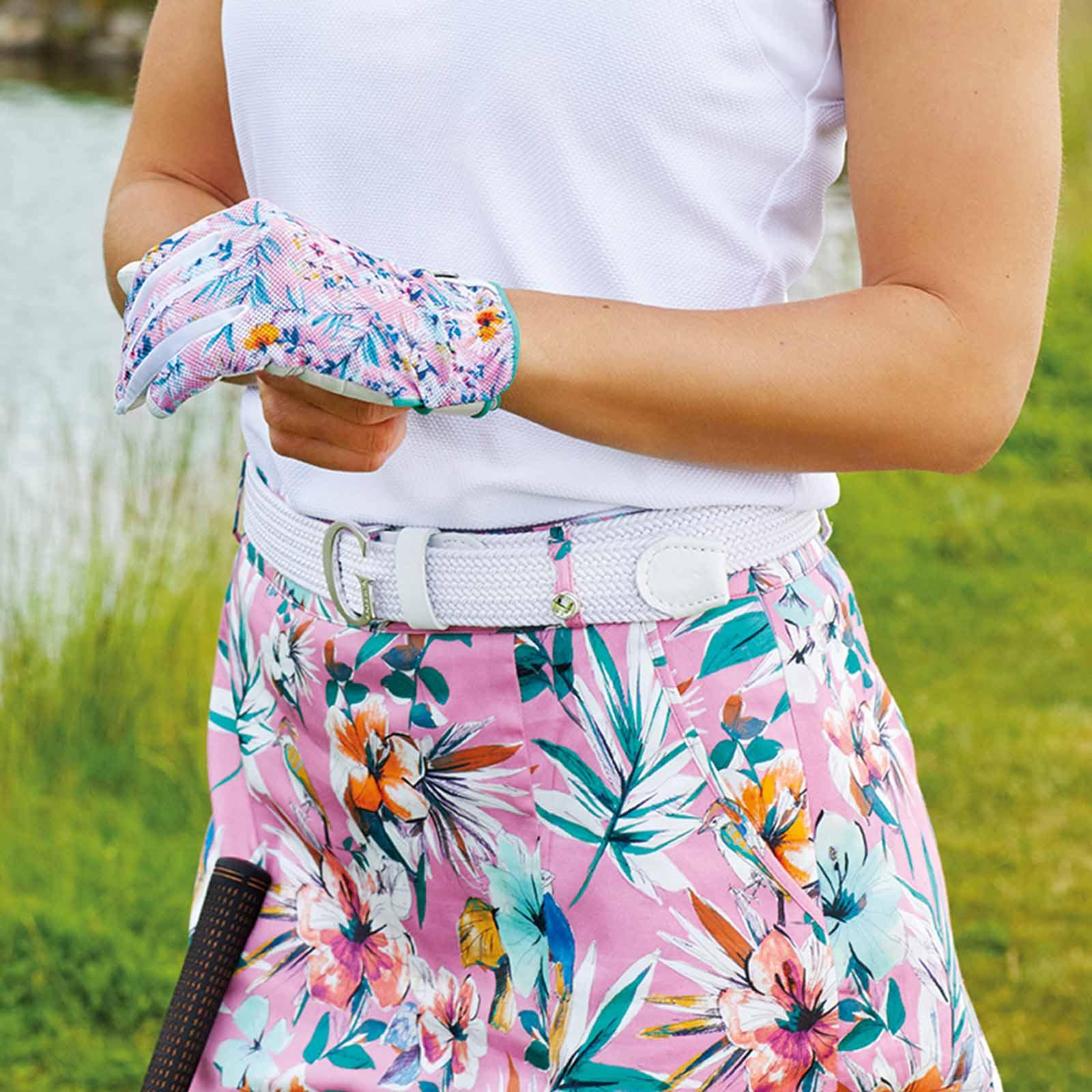 Damen Golfhandschuh (links) aus Leder mit elastischem Einsatz