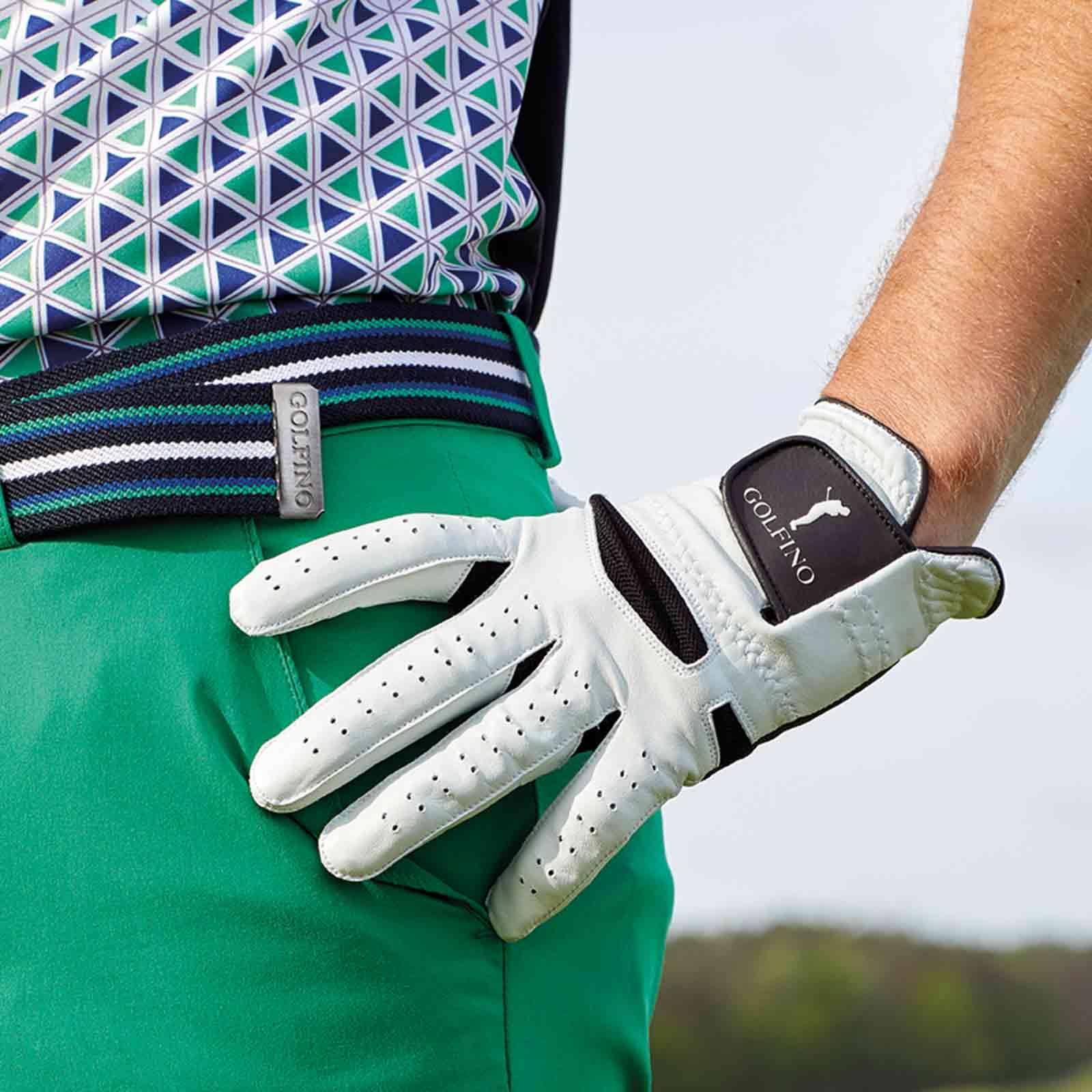 Herren Golfhandschuh (links) aus Leder mit textilem Einsatz
