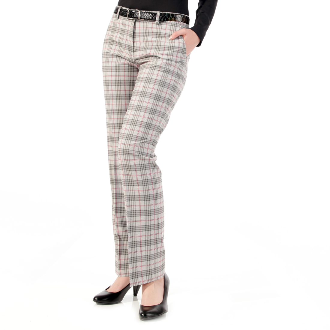 Stretch checked trousers