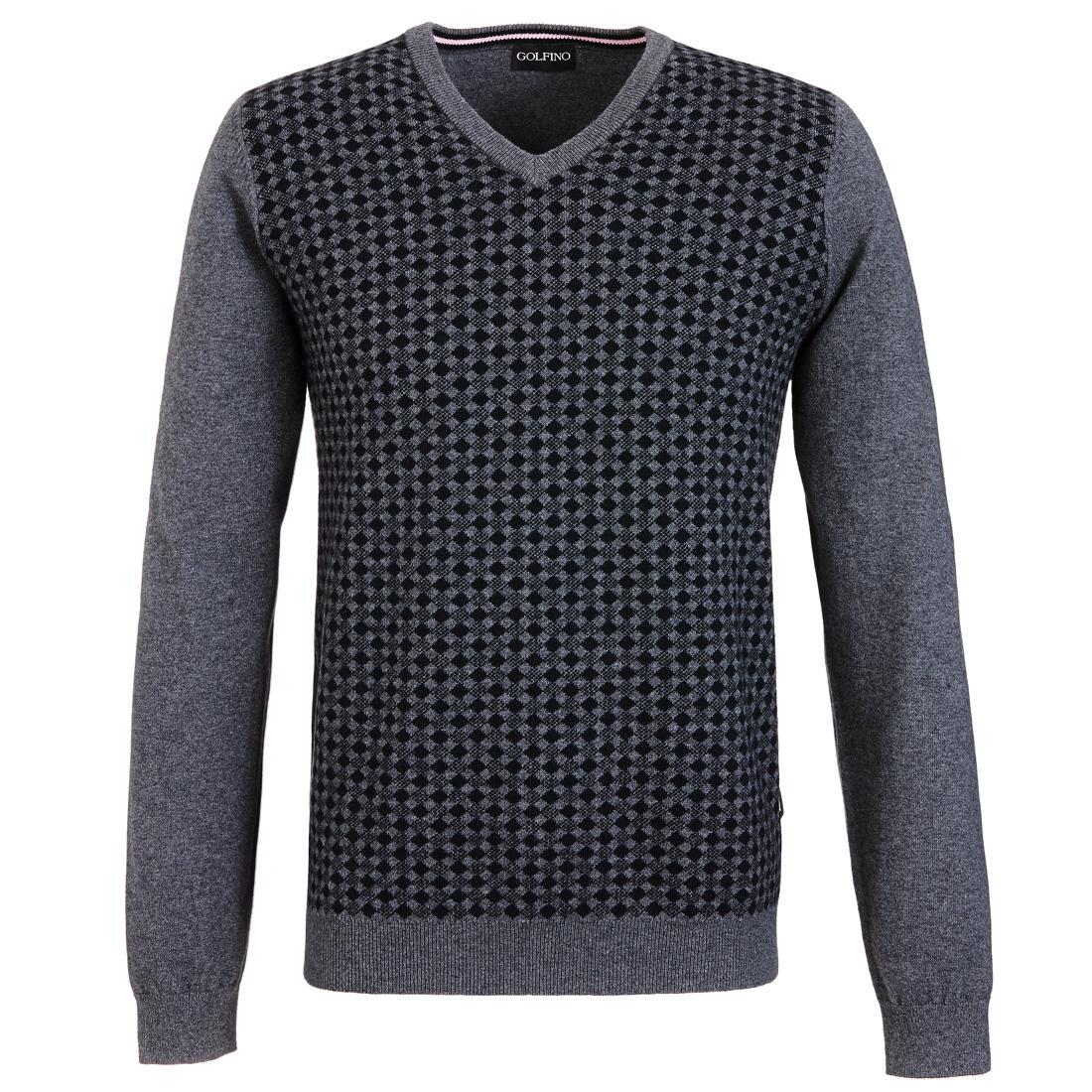 Pullover mit V-Ausschnitt und kleinen Rauten Grau