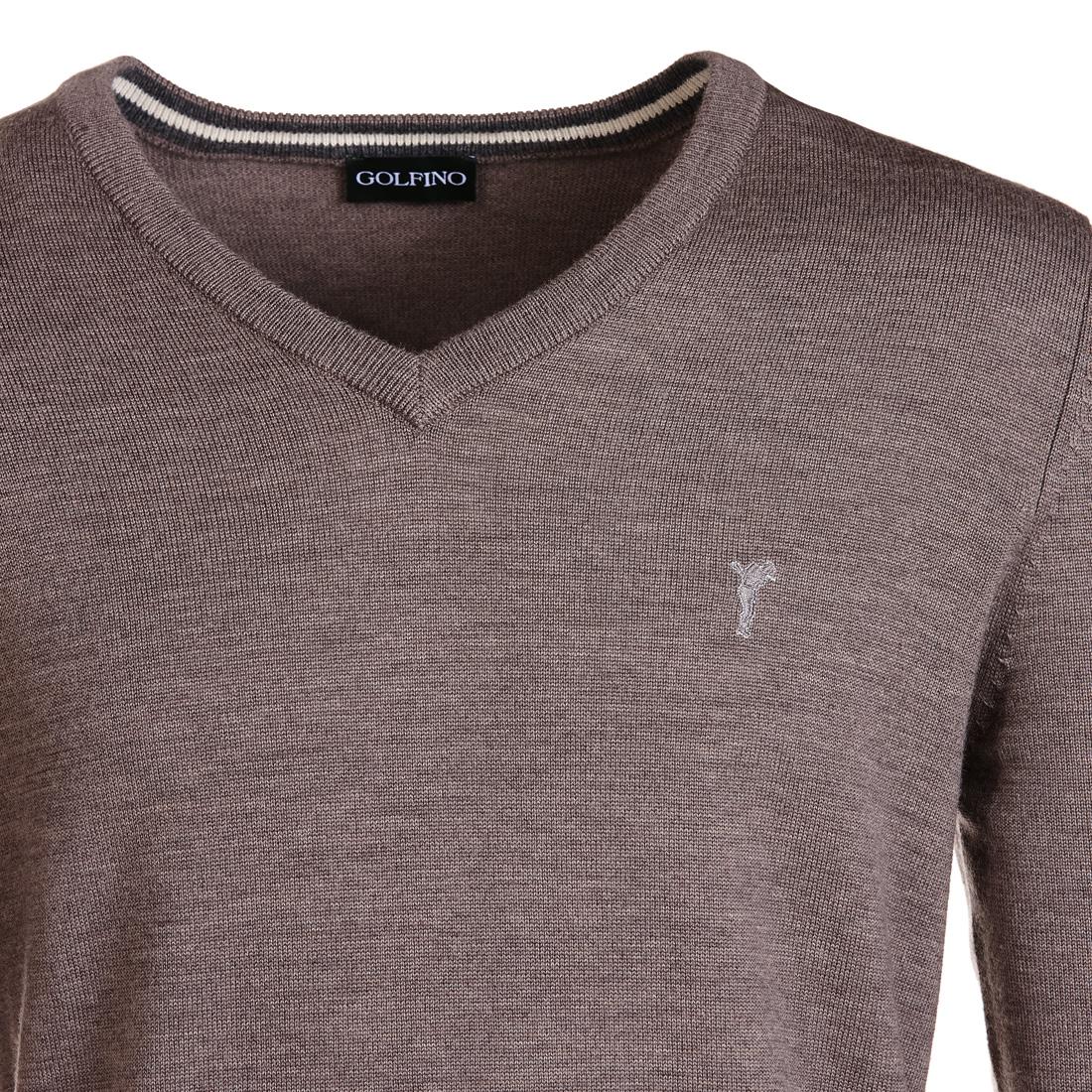 Melangierter Pullover mit V-Ausschnitt Beige