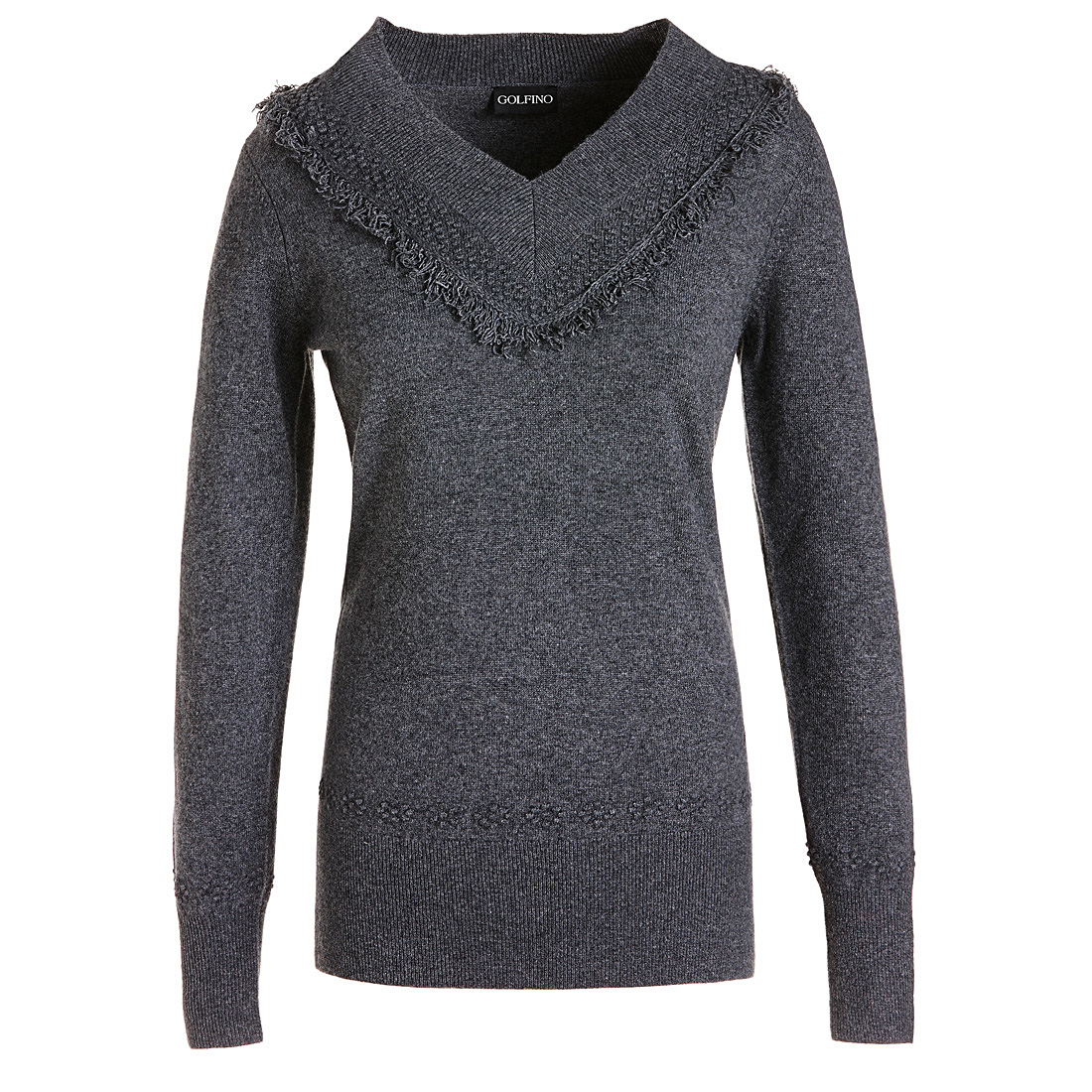 Pullover mit V-Ausschnitt und Fransen Grau