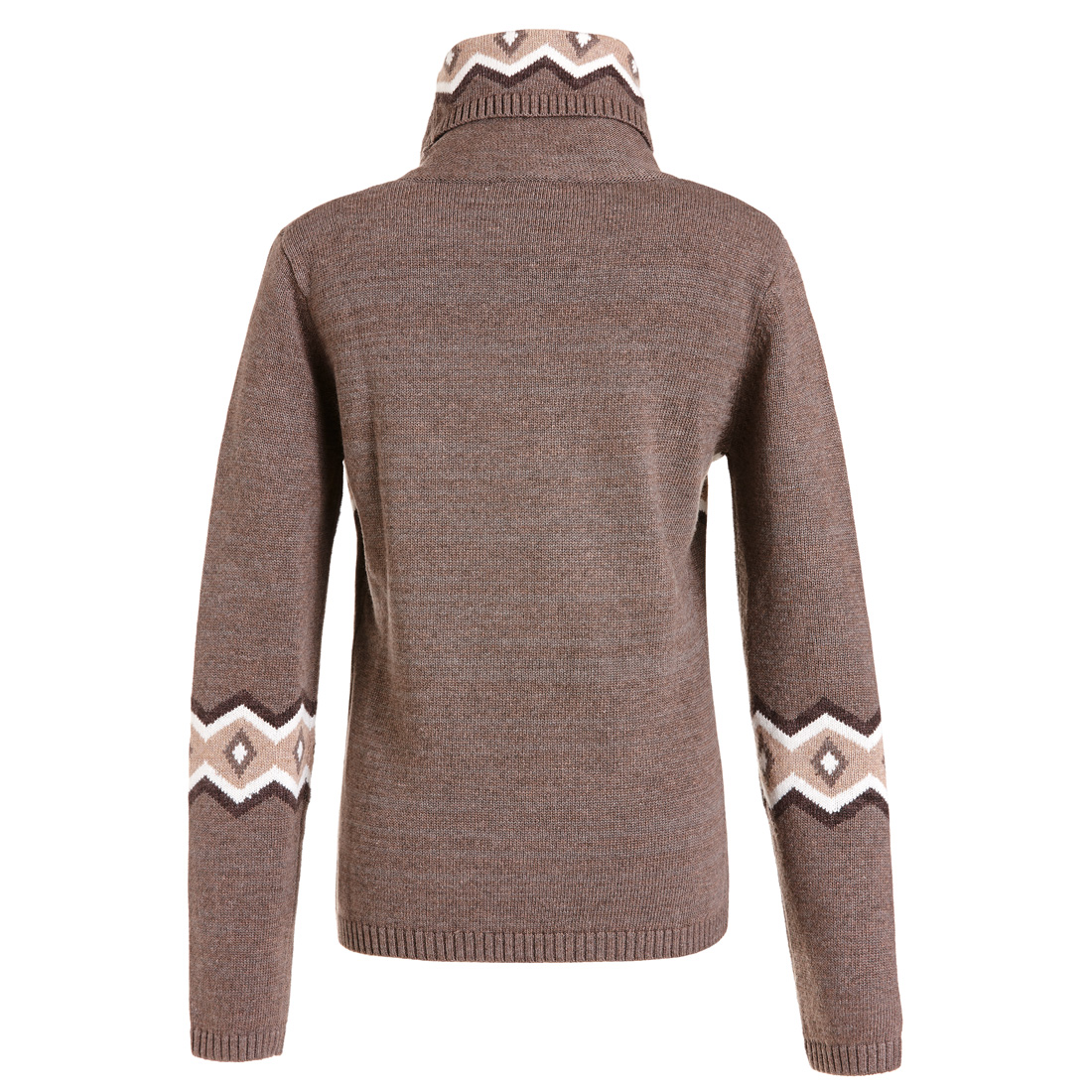 Rollkragen Pullover mit Rauten Braun