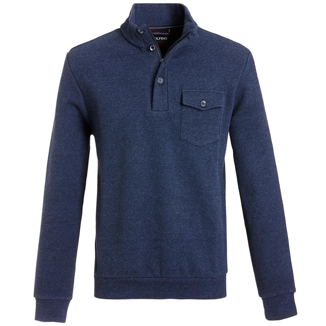 Baumwoll Melange Pullover mit Brusttasche Blau