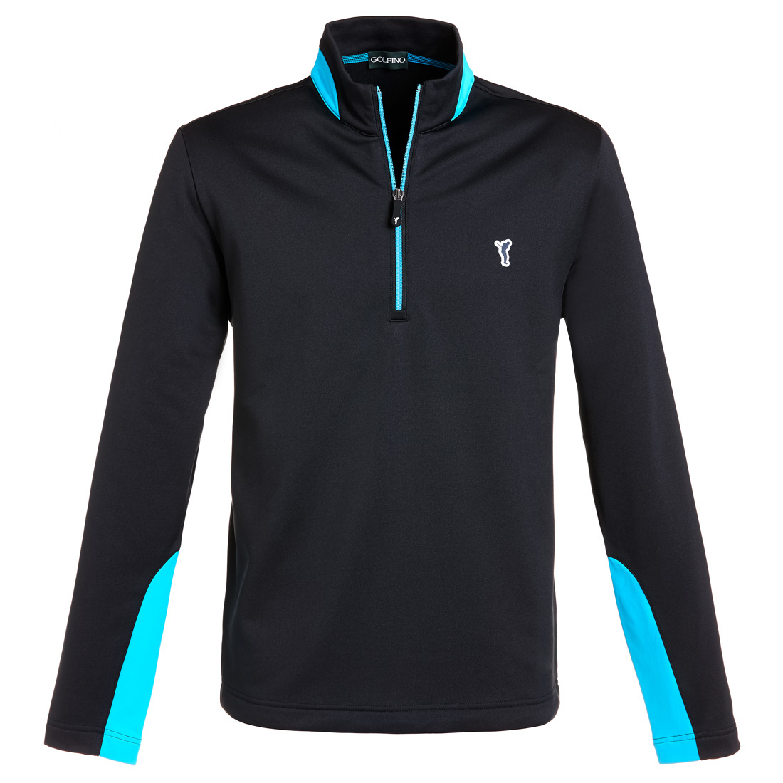 Techno Stretch Fleece Sweater mit halbem Reißverschluss Schwarz