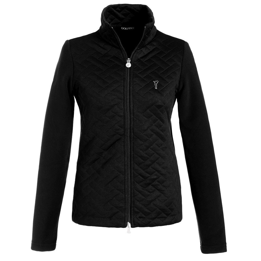Fleece Jacke mit der Vorderseite aus Jacquard Schwarz