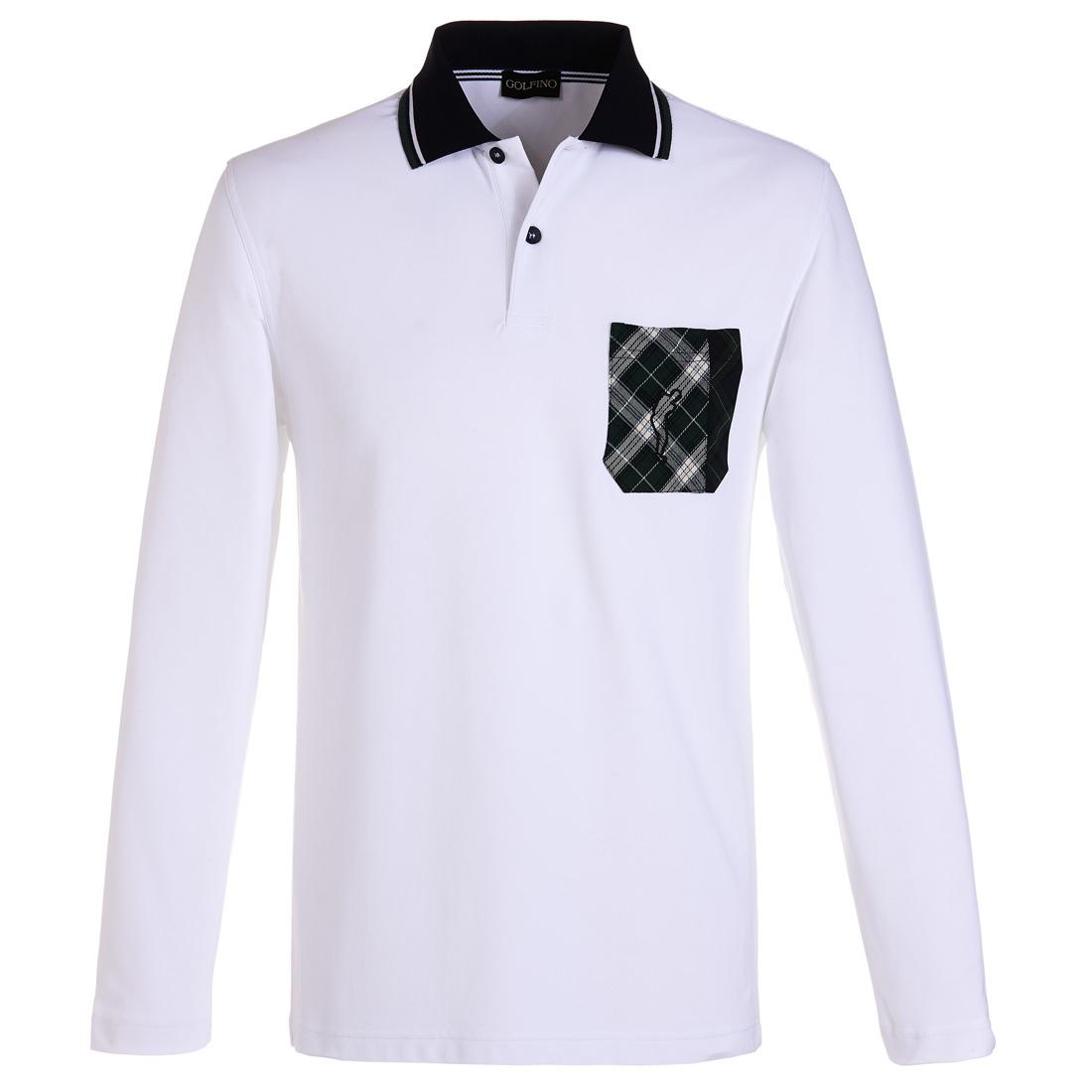 Extra Dry Poloshirt mit karierter Tasche Weiß