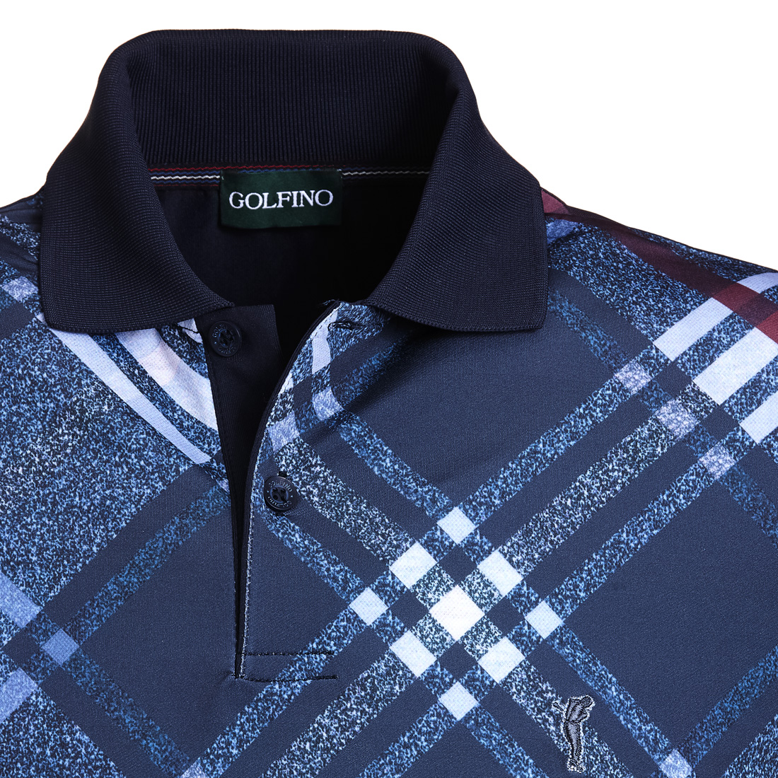 Kariertes Dry Comfort Poloshirt Blau