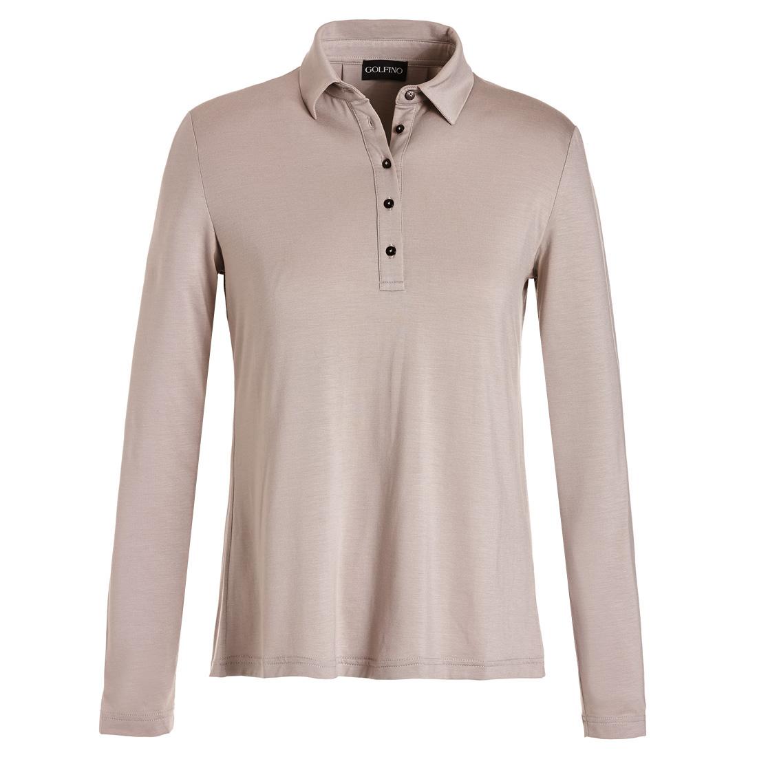 Weit geschnittenes Langarm Poloshirt