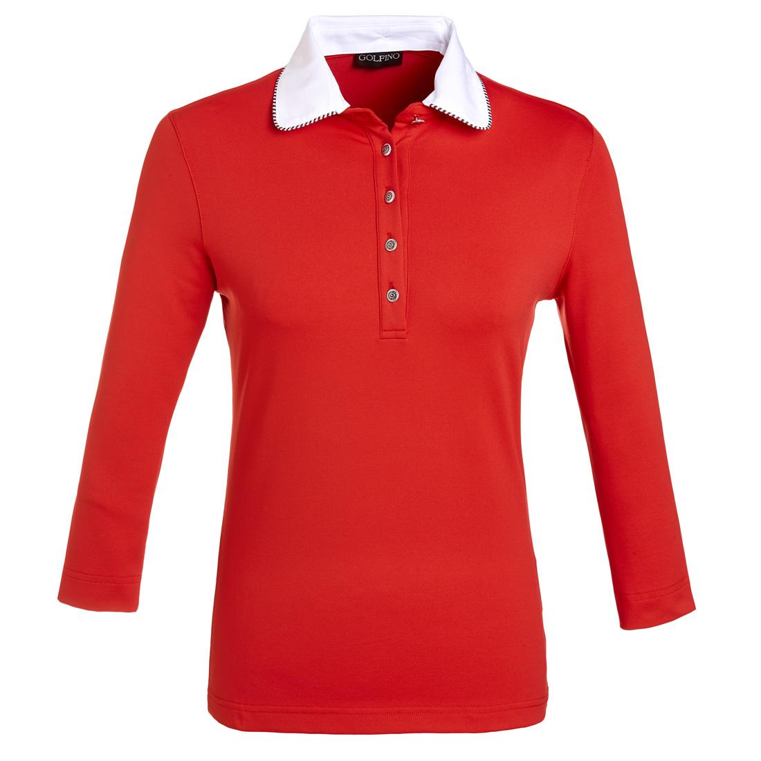 Dry Comfort Poloshirt mit 3/4 Arm Rot