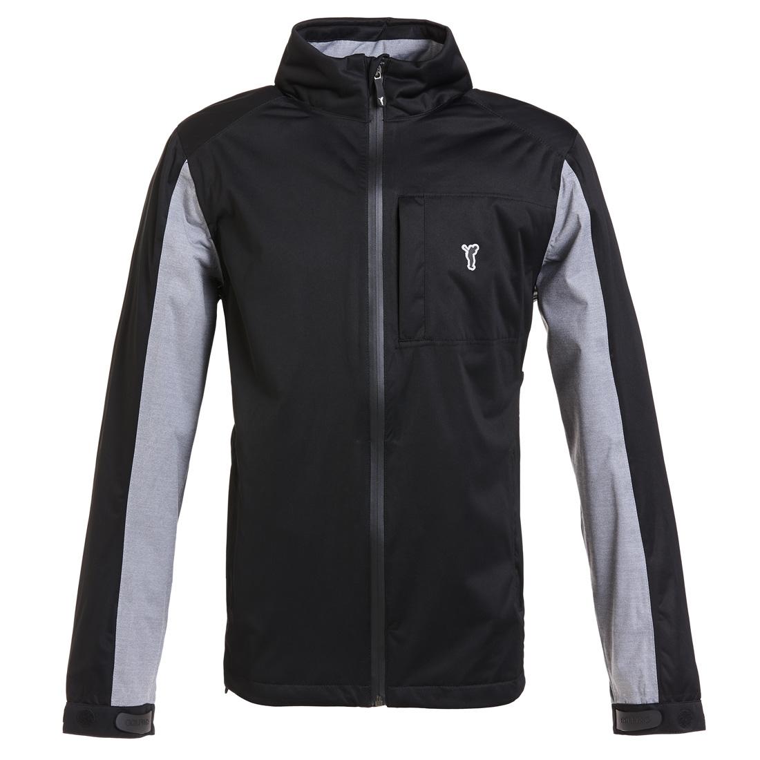 Leichte wasserfeste Golf Jacke mit abnehmbarer Kapuze Schwarz