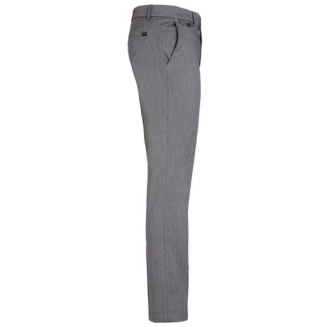Gebürstete Hose mit Fischgrätenmuster Grau
