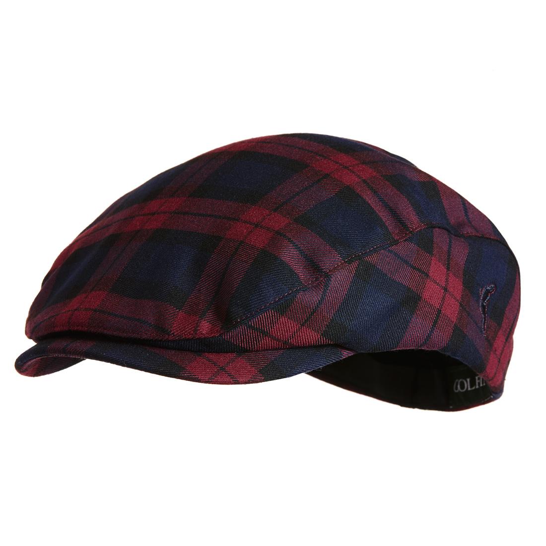 Flache Mütze mit Karo Violet