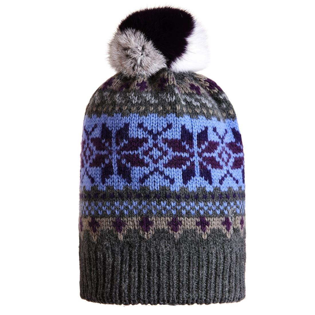 Jacquard Mütze mit Bommel Grau