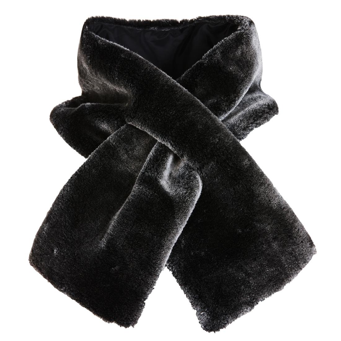 Designer Schal mit Kunstfell Grau